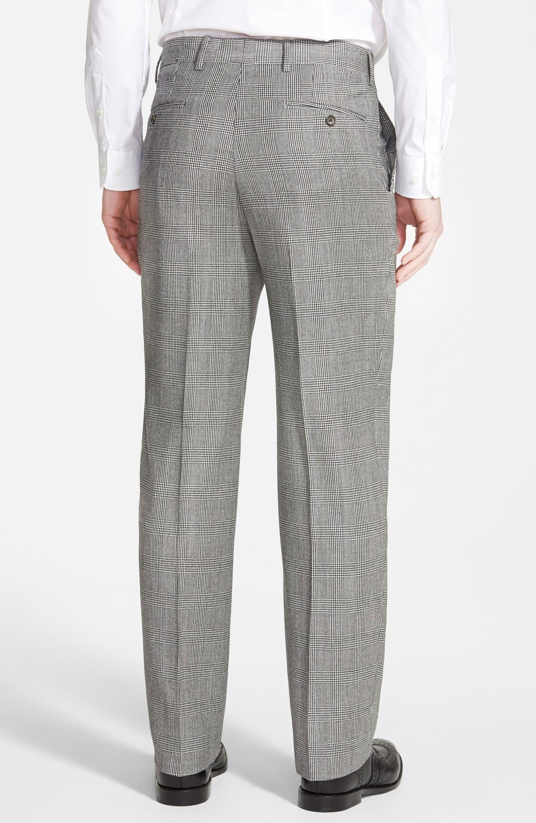 Flat Front Plaid Wool Trousers,                             Alternate thumbnail 3, color,                             060