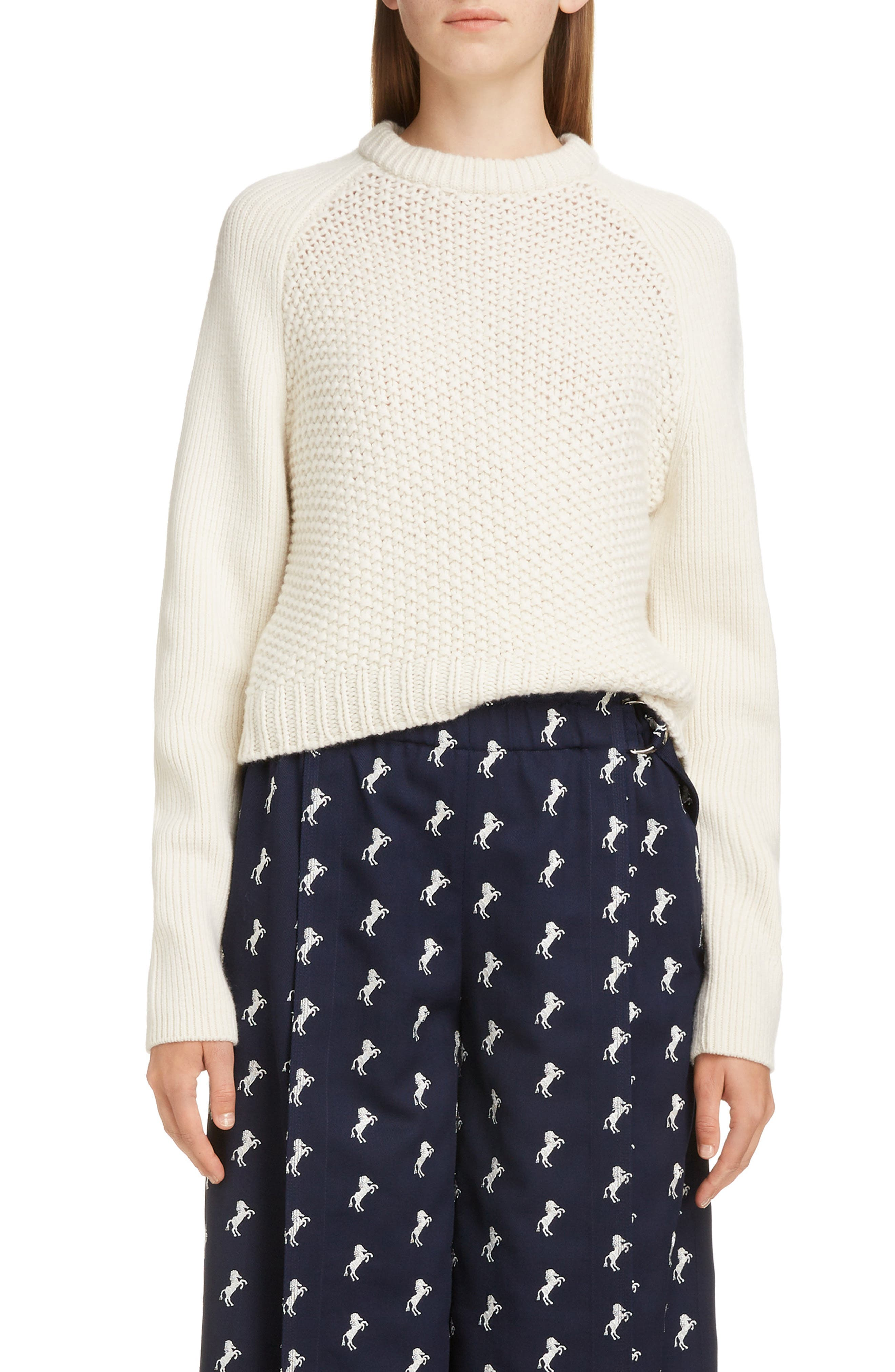 Mixed Knit Wool & Cashmere Blend Sweater, Main, color, PRISTINE WHITE