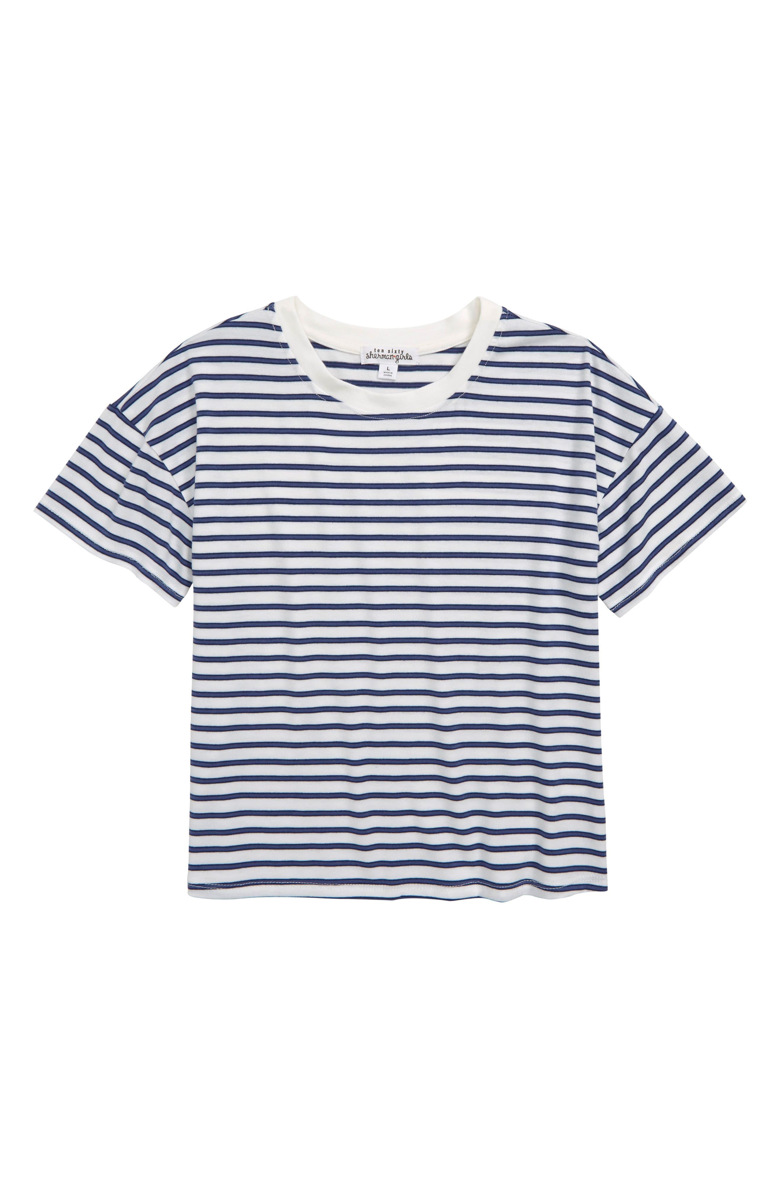 Stripe Tee, Main, color, IVORY/ VINTAGE BLUE