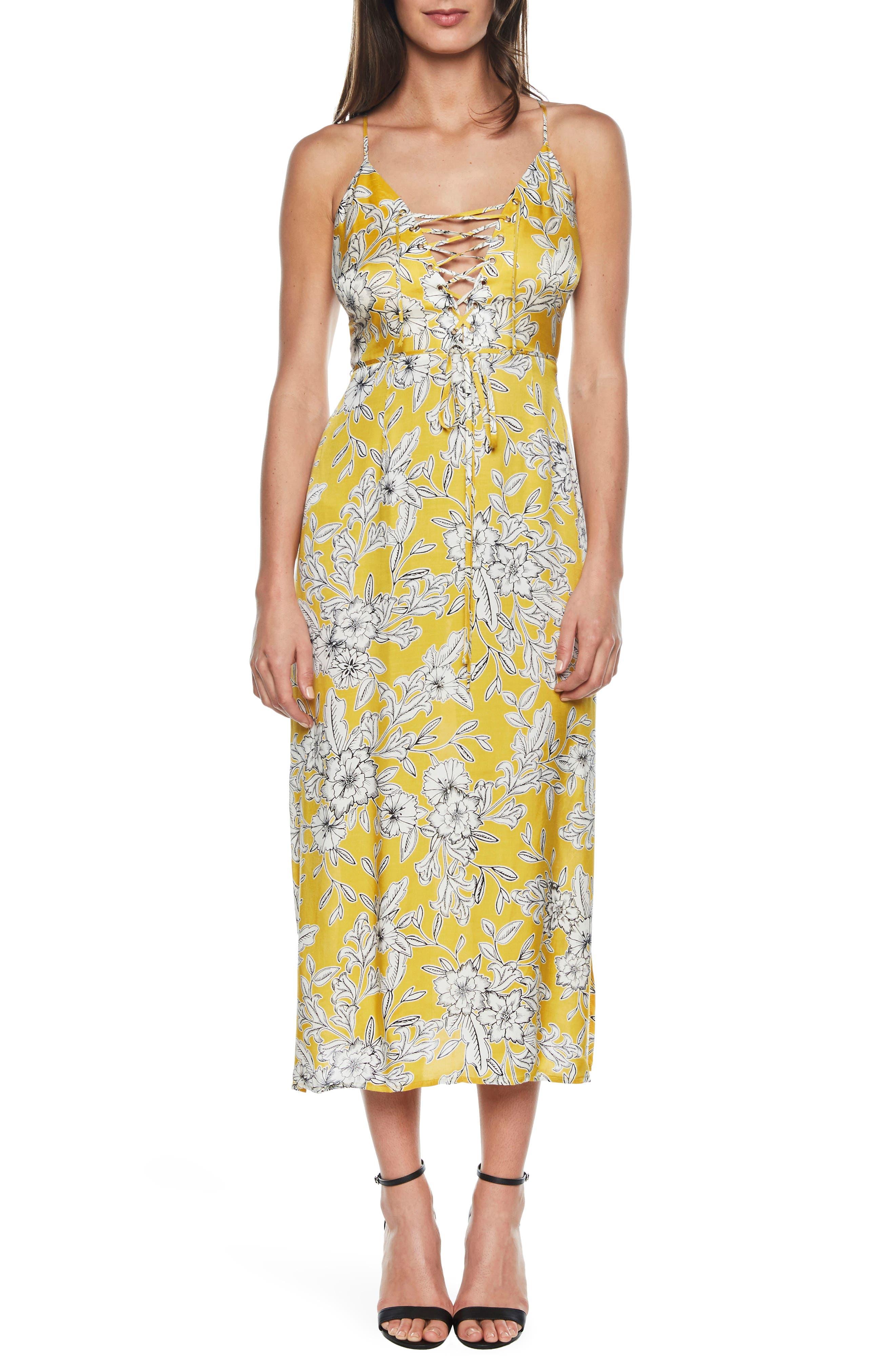 Karina Lace-Up Midi Dress,                         Main,                         color, 774