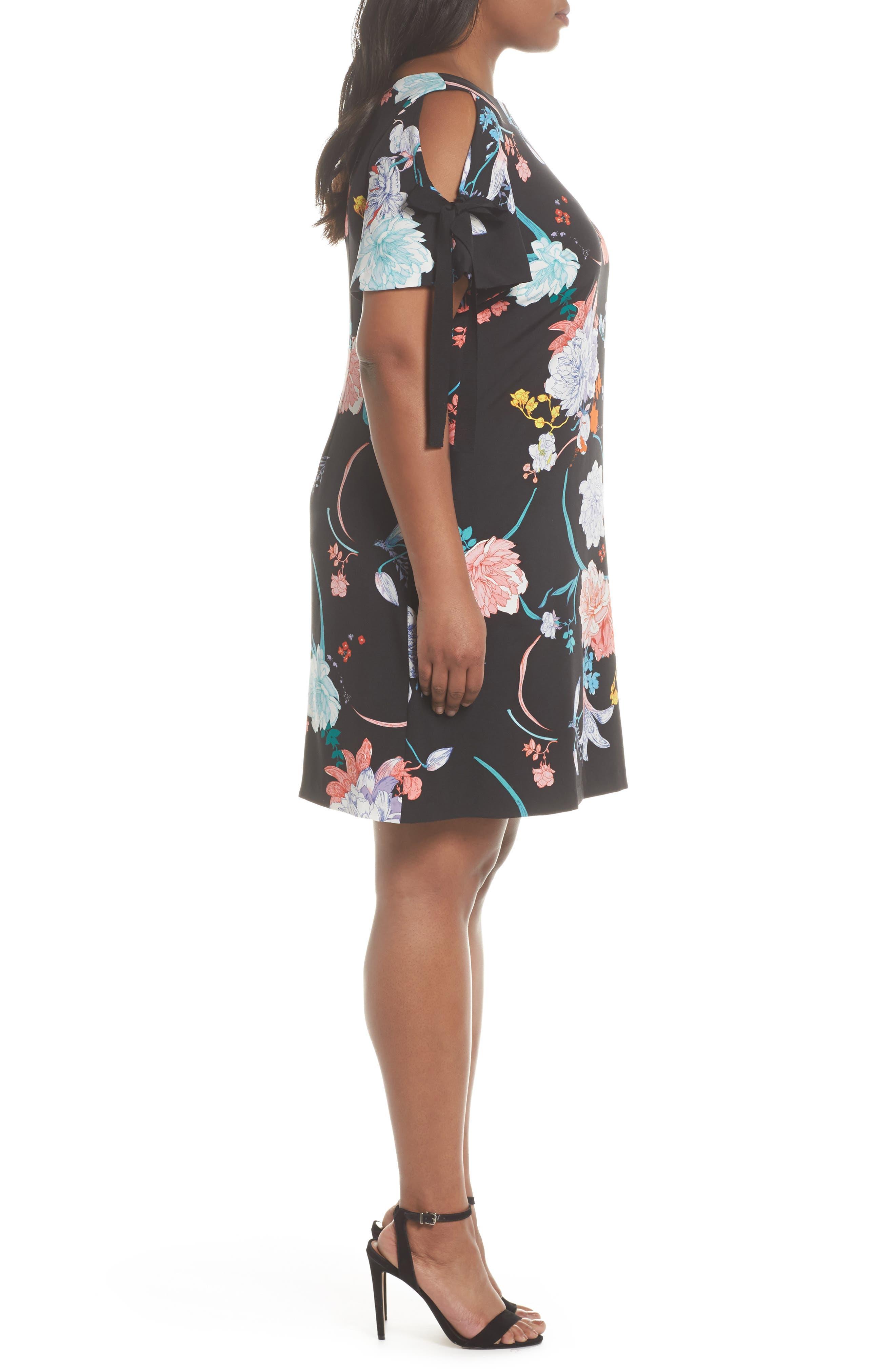 Zen Blosson Shift Dress,                             Alternate thumbnail 3, color,                             BLACK MULTI
