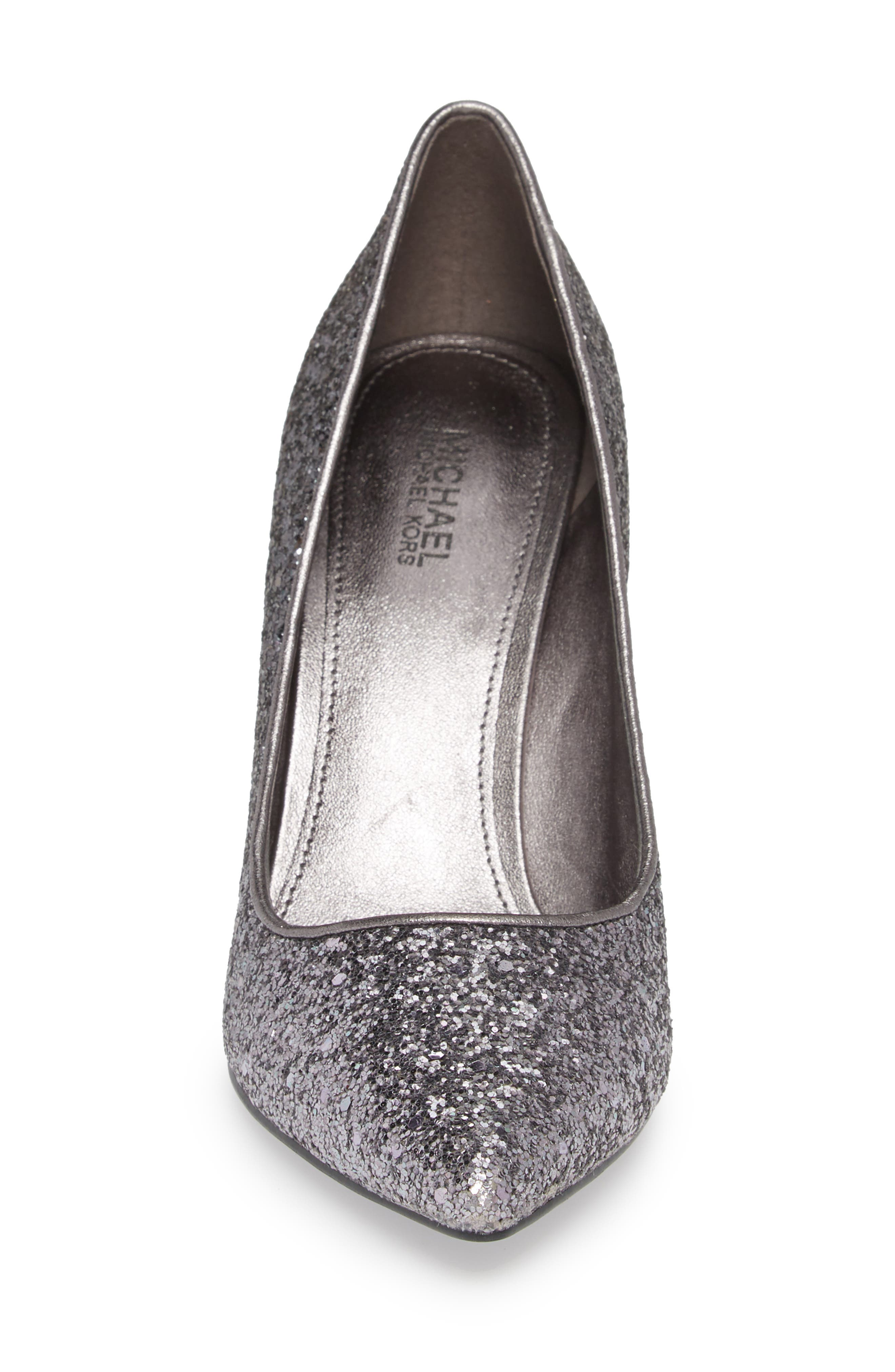 Claire Pointy Toe Pump,                             Alternate thumbnail 4, color,                             GUNMETAL GLITTER FABRIC