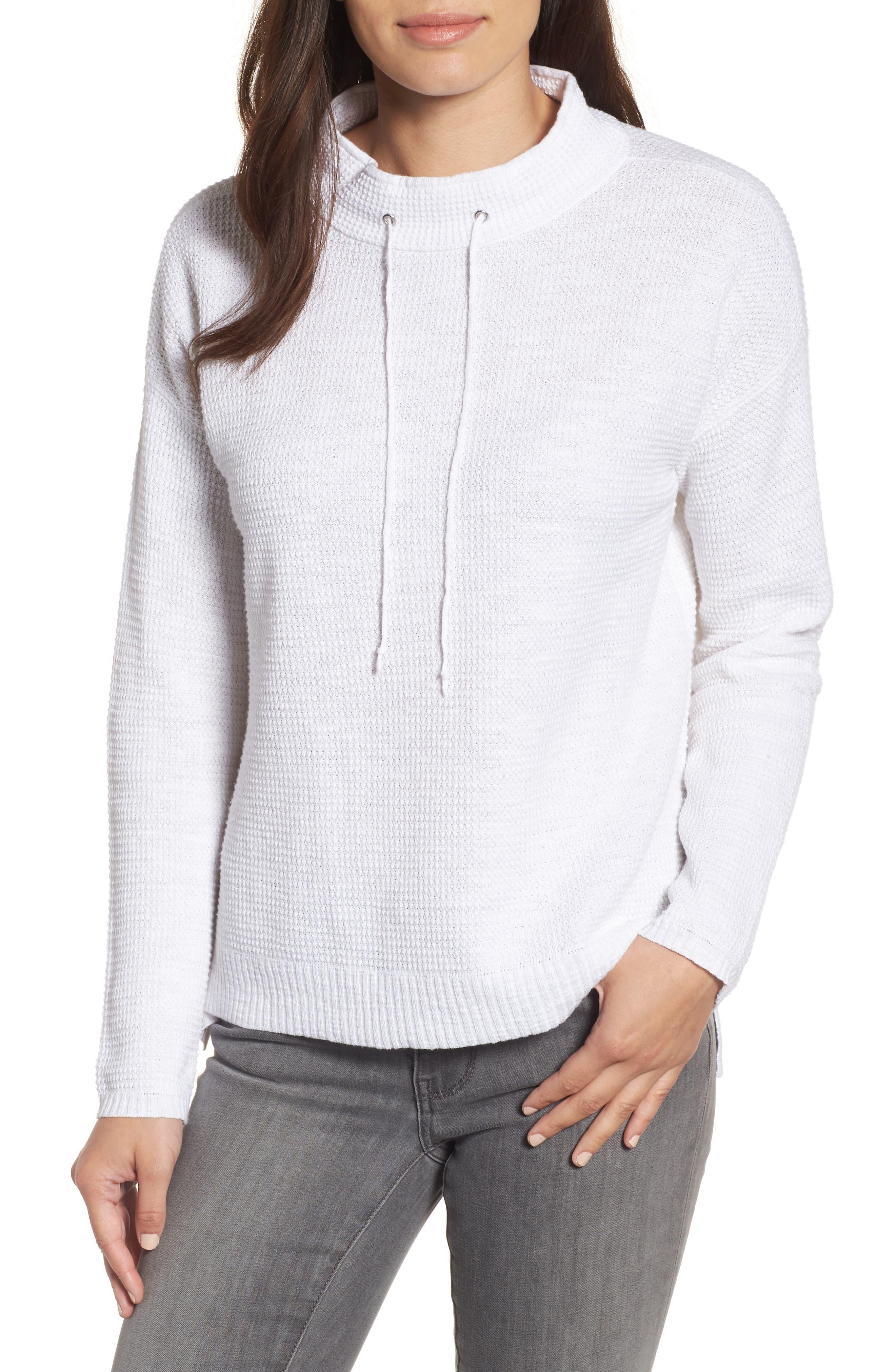 Drawstring Neck Organic Linen & Cotton Top,                         Main,                         color, 100