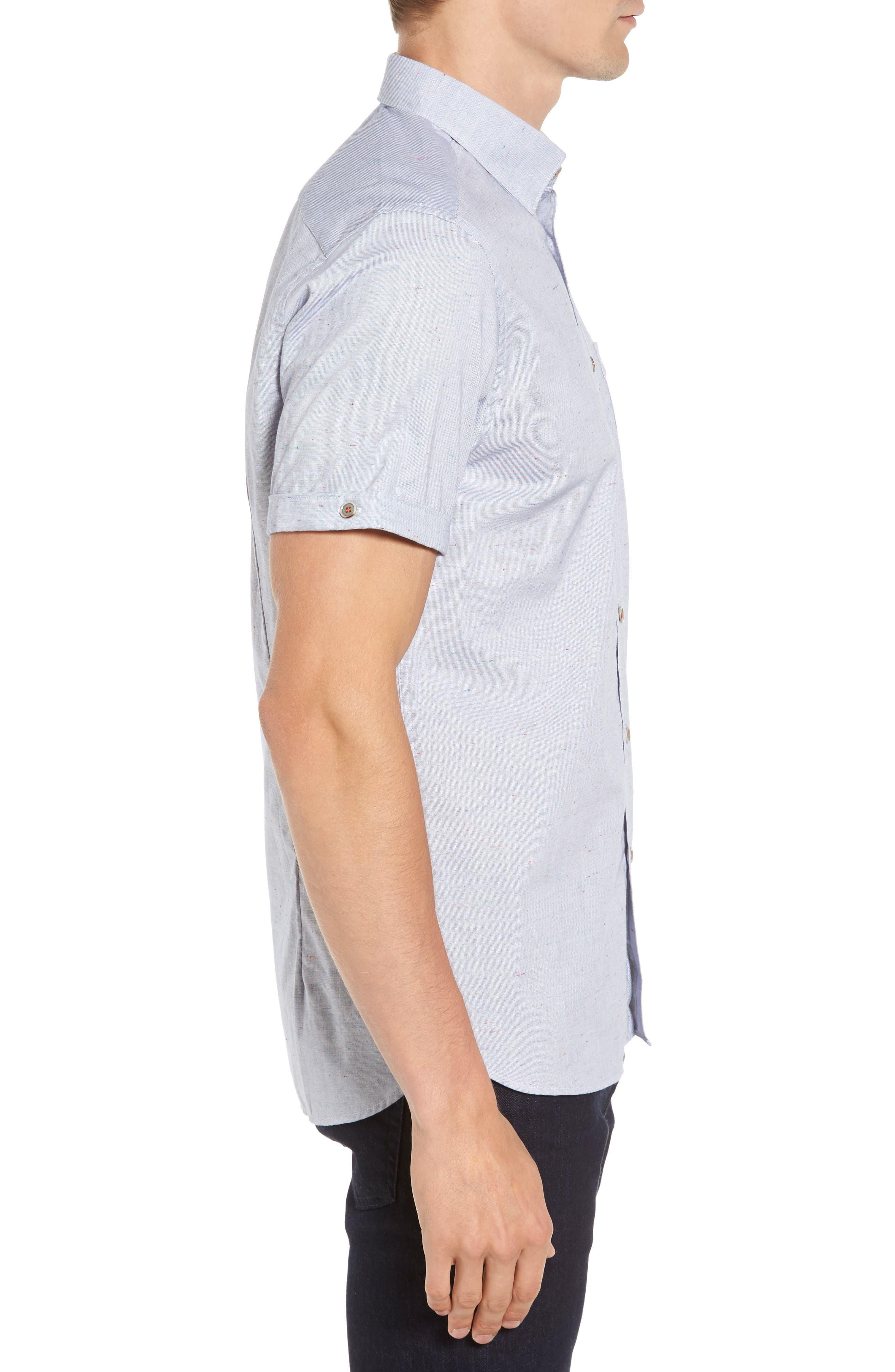 Beya Slim Fit Nepped Woven Shirt,                             Alternate thumbnail 3, color,                             421