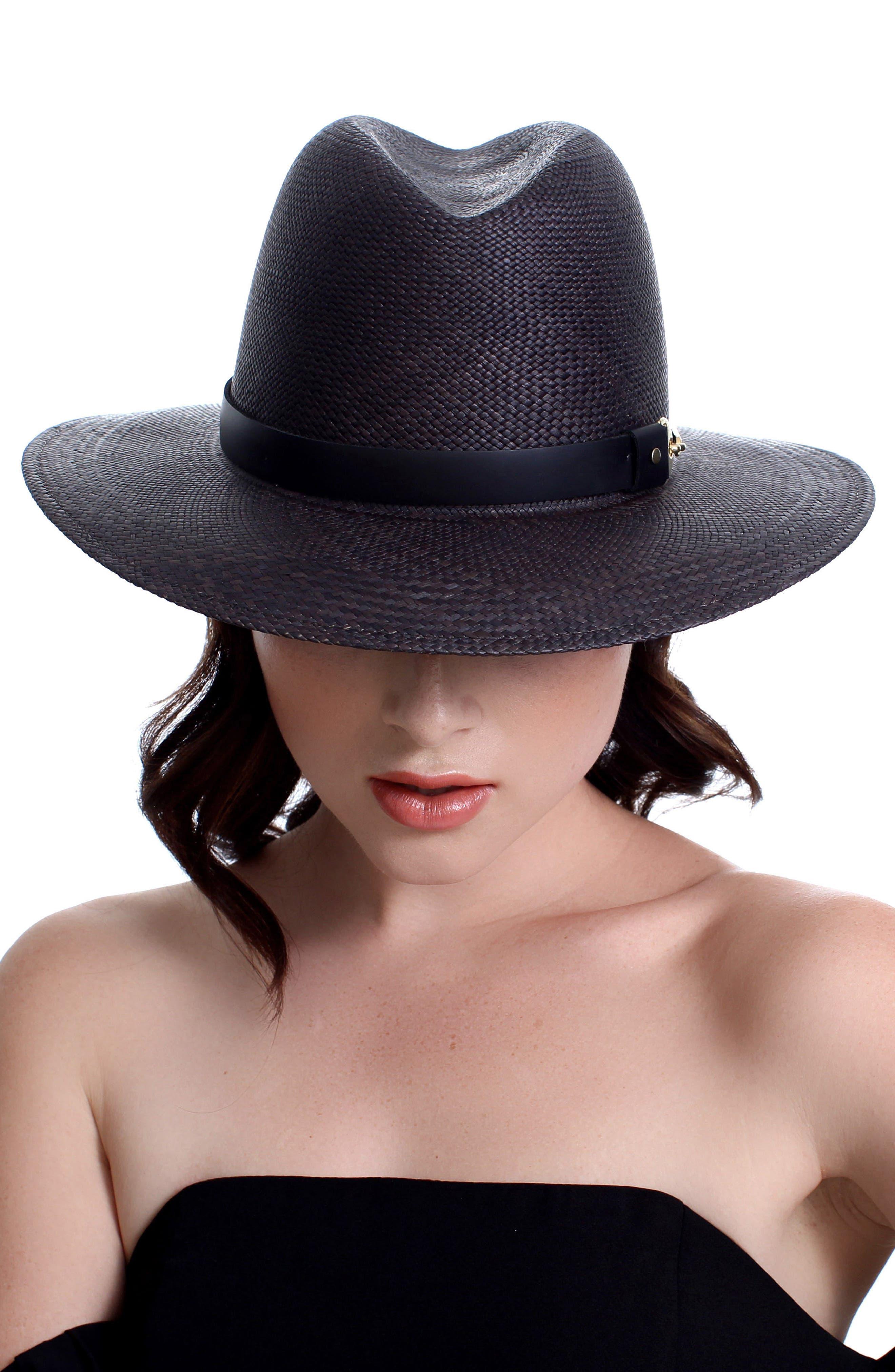 The Marlene Straw Panama Hat,                             Alternate thumbnail 2, color,                             BLACK