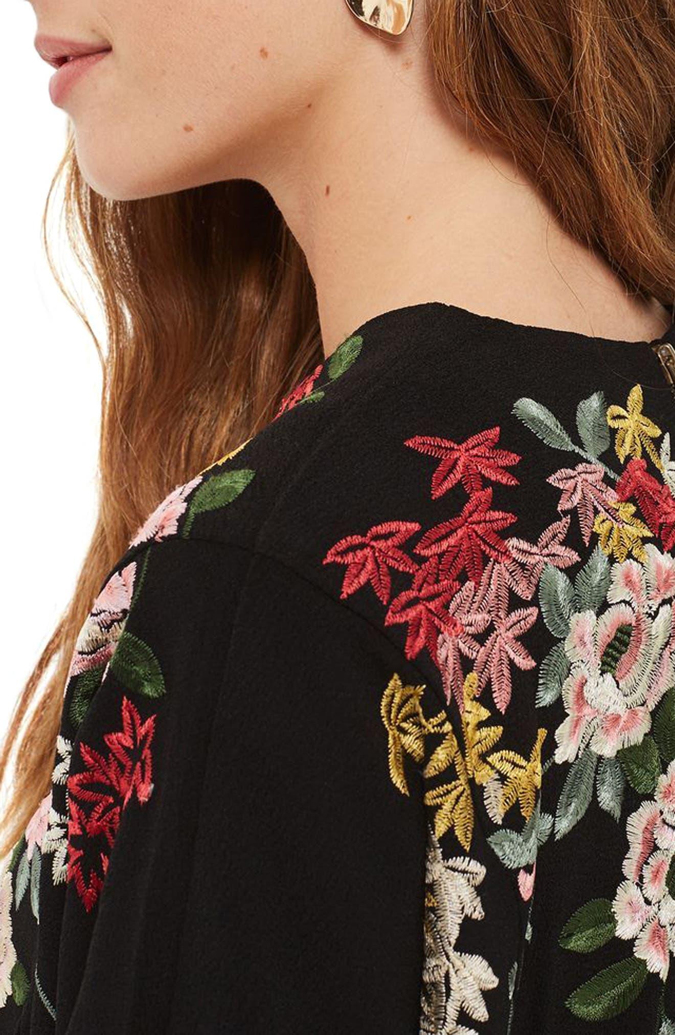 Kimono Embroidered Sweatshirt,                             Alternate thumbnail 3, color,                             001