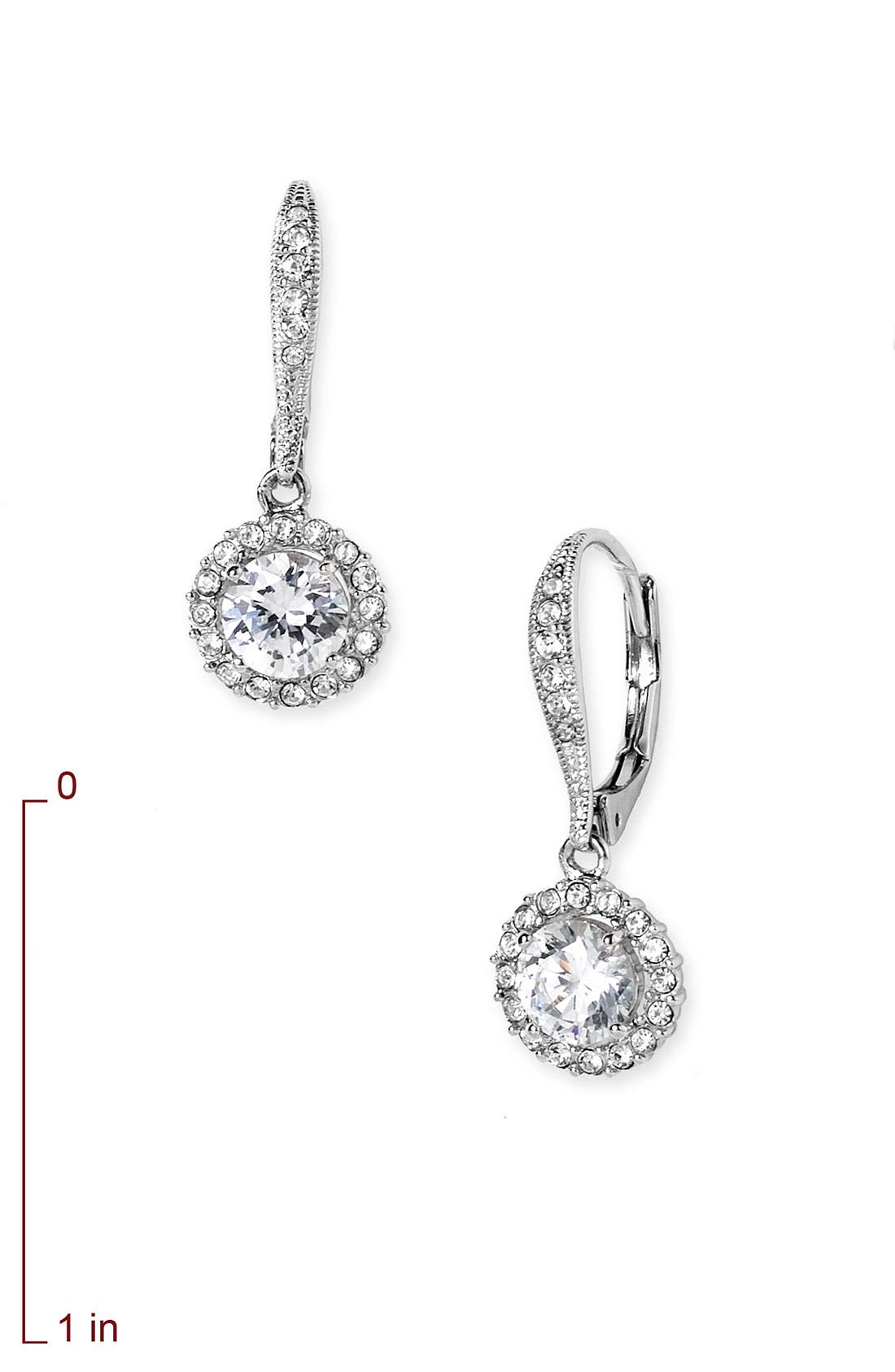 Cubic Zirconia Drop Earrings,                             Alternate thumbnail 3, color,                             SILVER/ CLEAR CRYSTAL