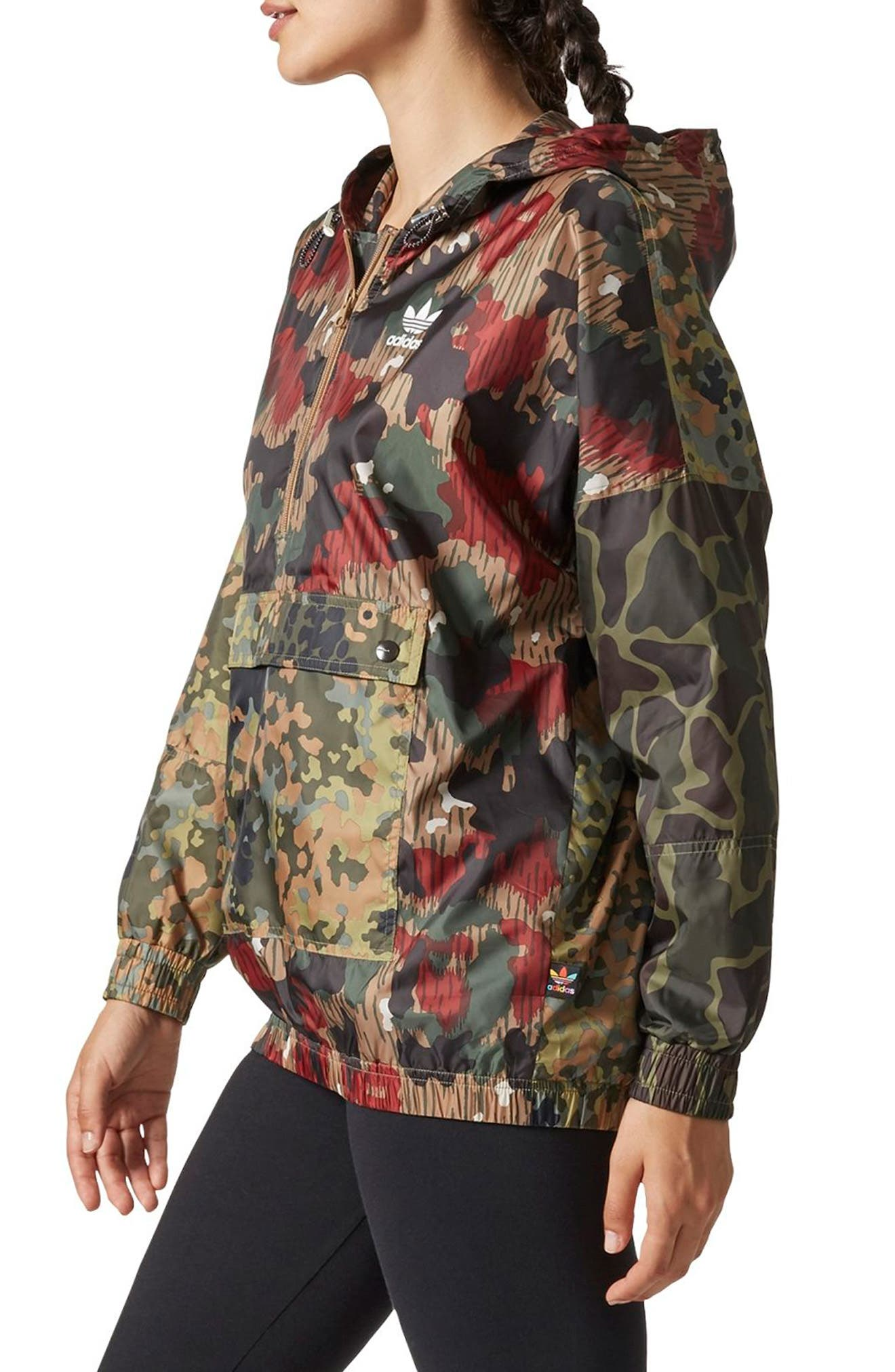 Originals by Pharrell Williams HU Hiking Camo Logo Windbreaker,                             Alternate thumbnail 3, color,                             300