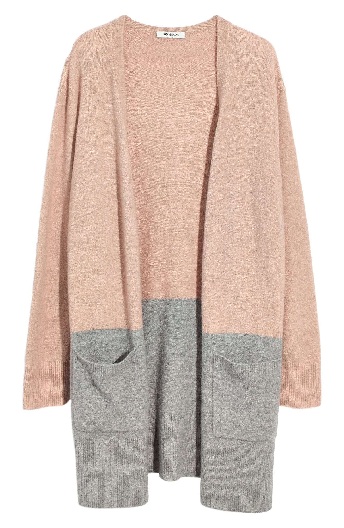 Kent Colorblock Cardigan Sweater,                             Alternate thumbnail 5, color,                             HEATHER BEIGE