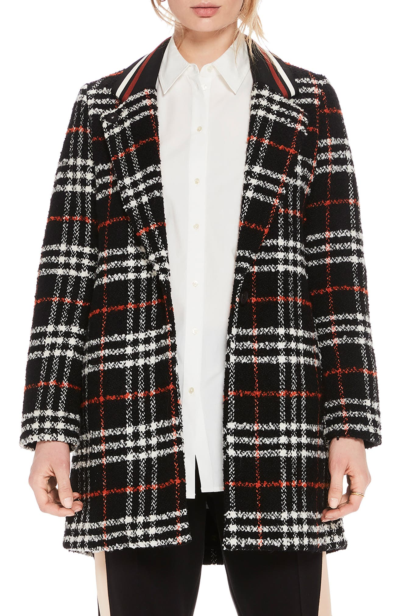 Bonded Wool Blend Jacket,                             Main thumbnail 1, color,                             BLACK AND RED PLAID
