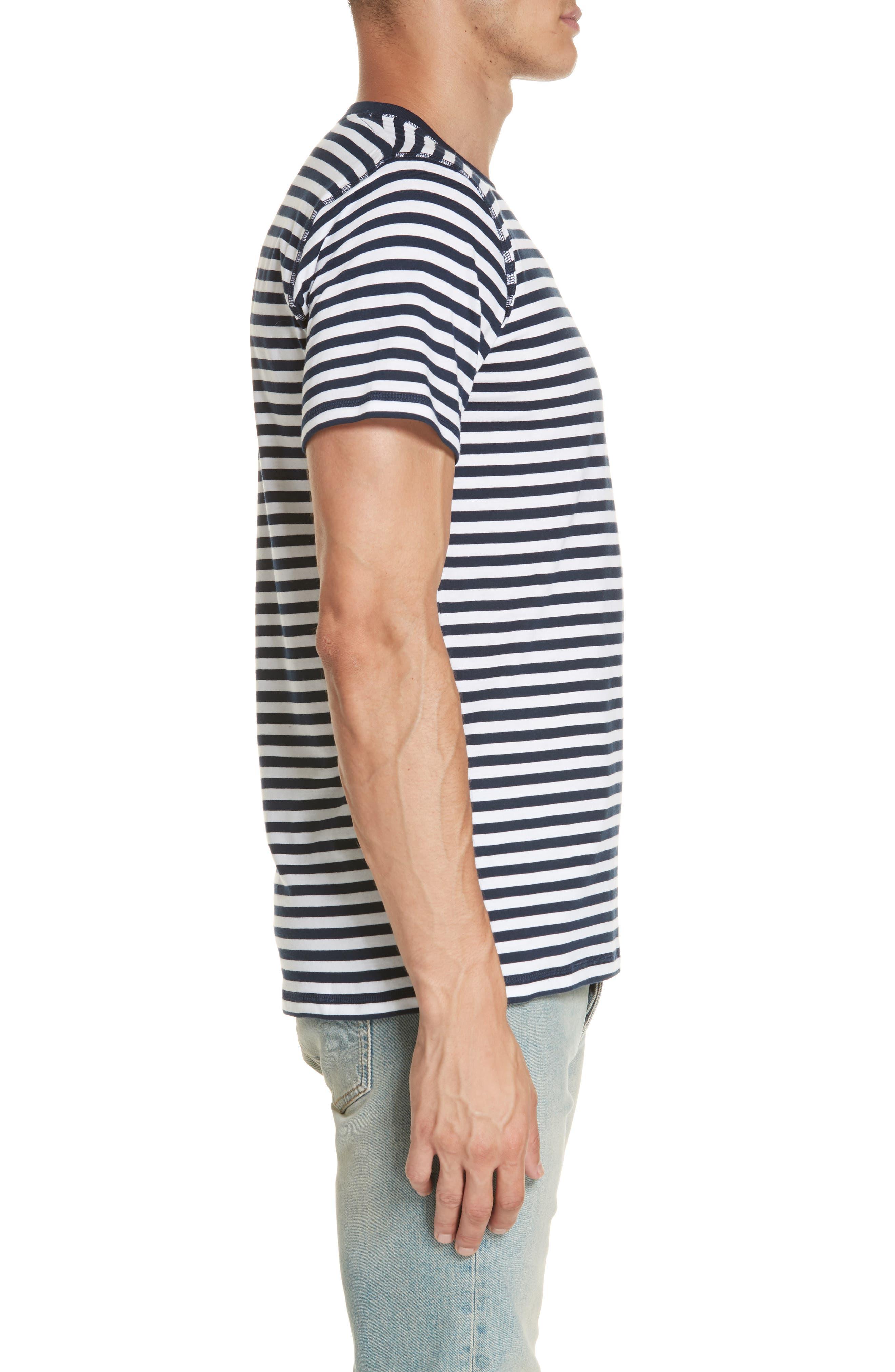 Norse Project Niels Classic Stripe T-Shirt,                             Alternate thumbnail 3, color,                             BLUE