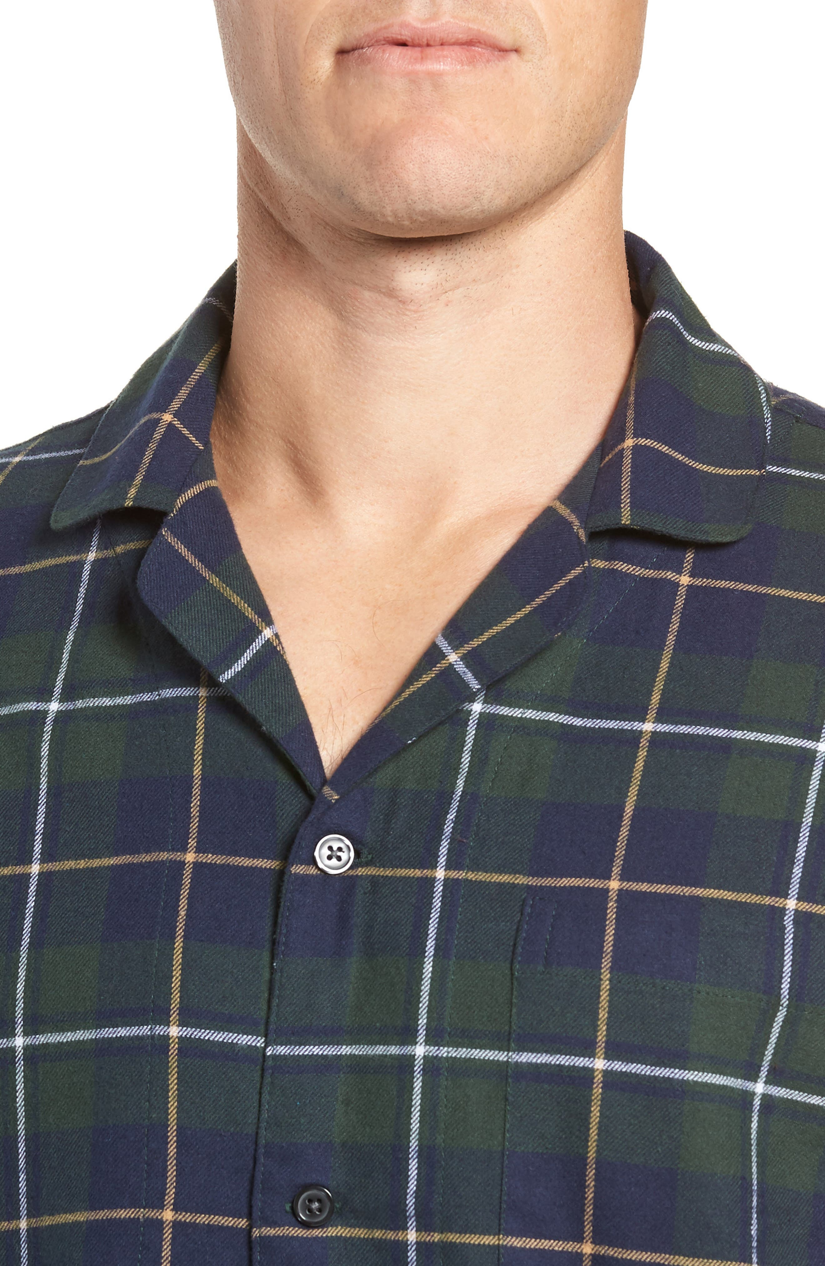 '824' Flannel Pajama Set,                             Alternate thumbnail 4, color,                             GREEN CHARCOAL FADED PLAID