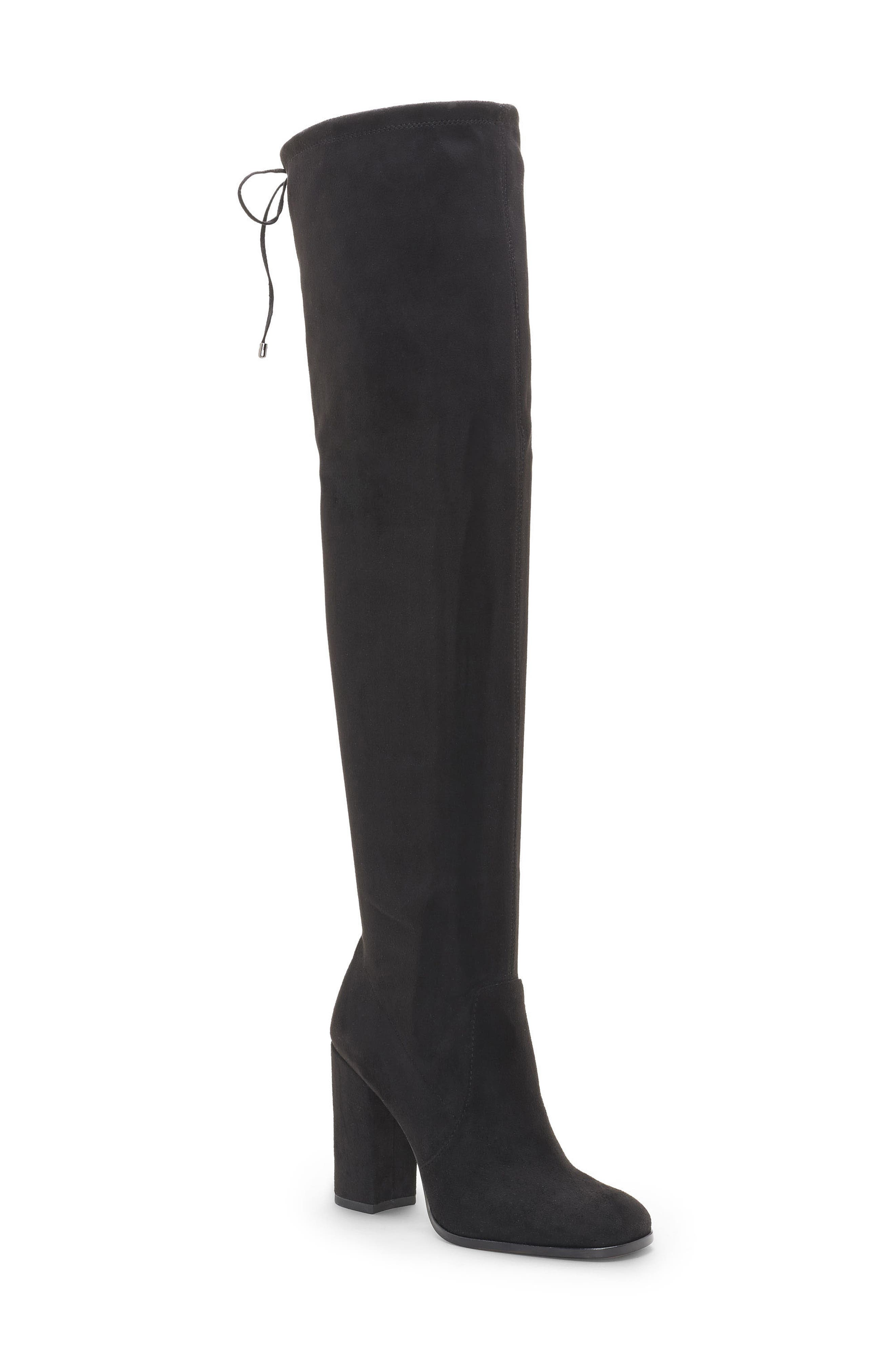 Marline Thigh High Boot,                         Main,                         color, BLACK SUEDE