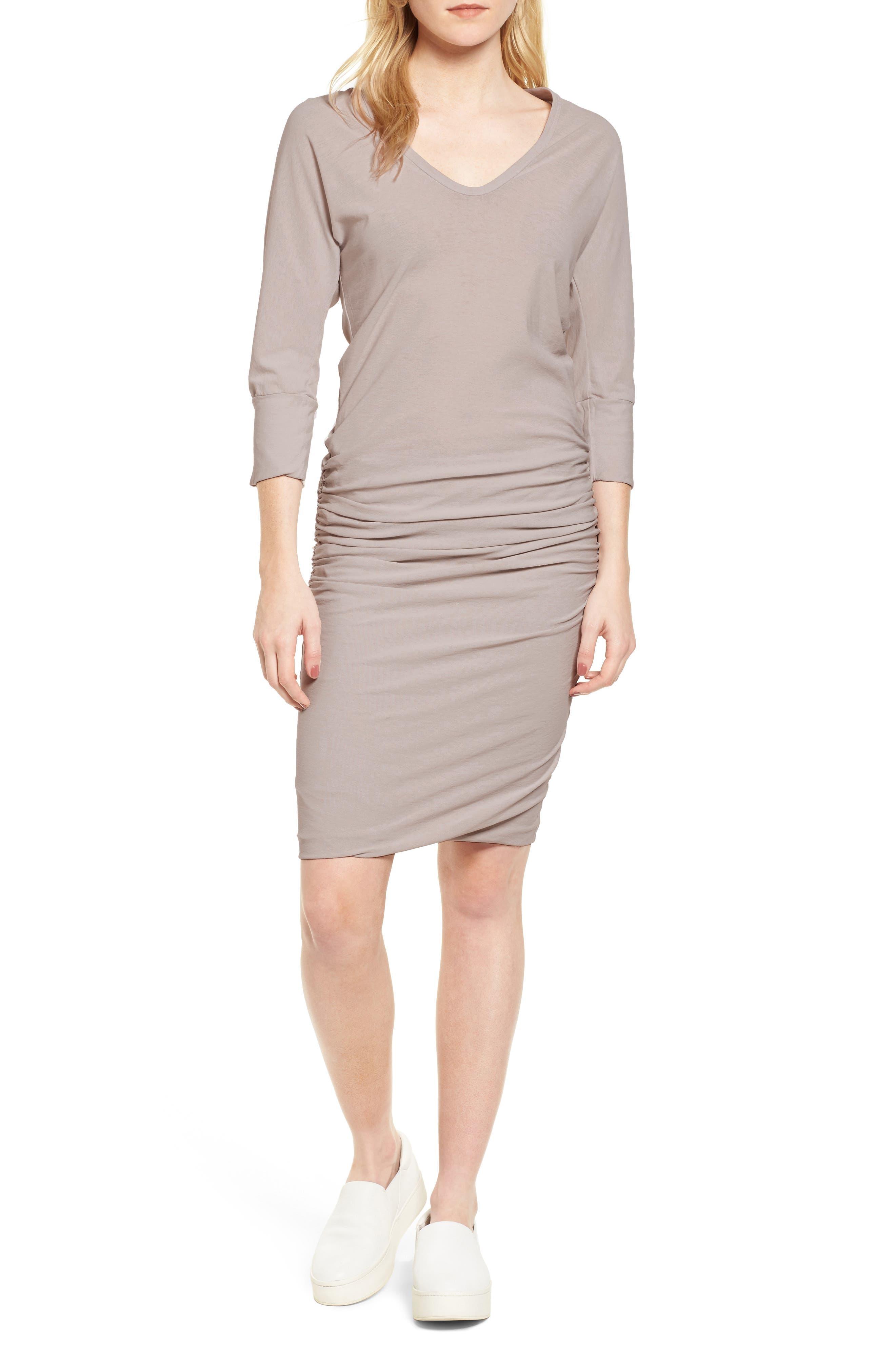 Shirred Cotton Dress,                             Main thumbnail 1, color,                             085
