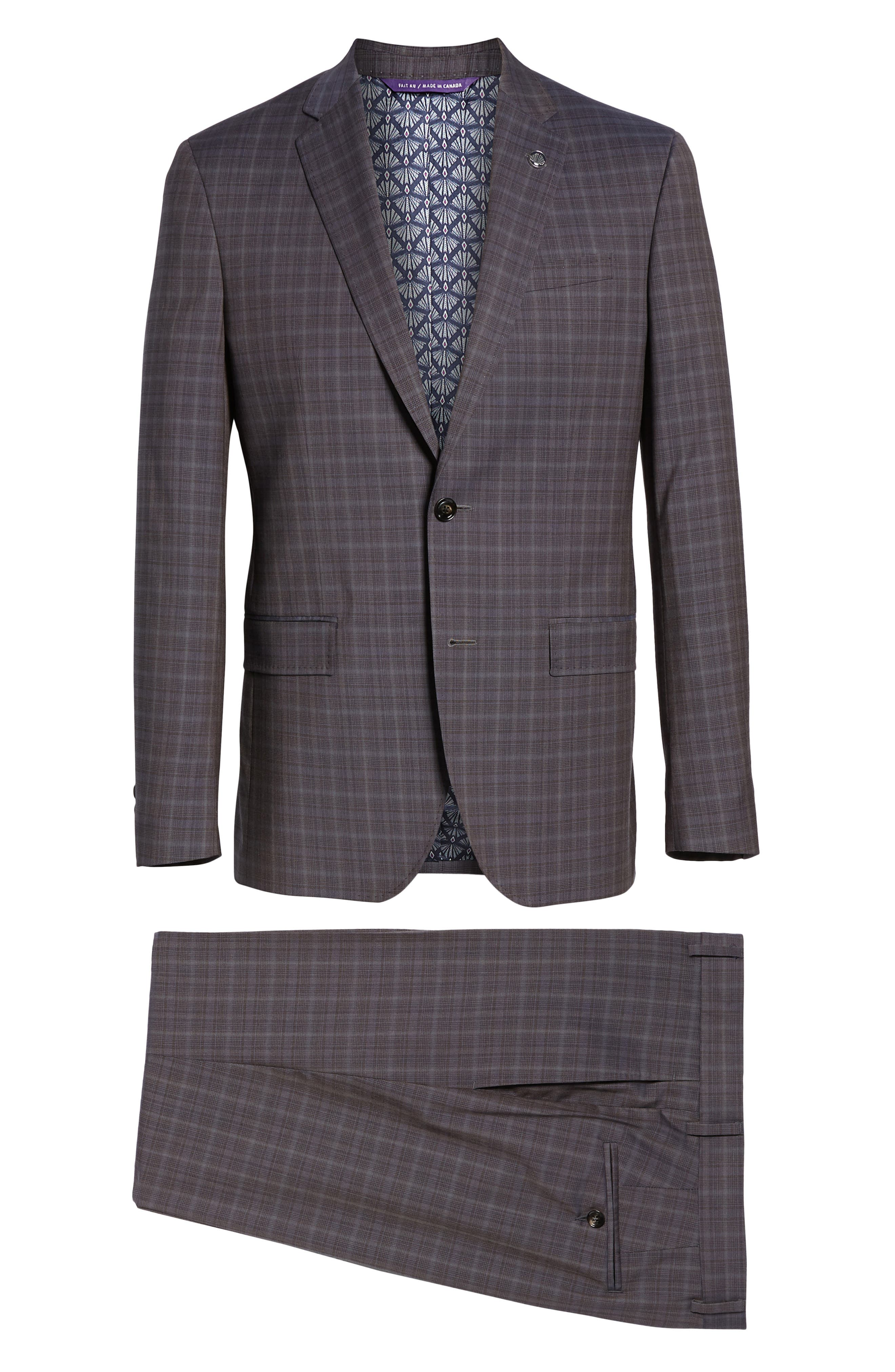 TED BAKER LONDON,                             Jay Trim Fit Plaid Wool Suit,                             Alternate thumbnail 8, color,                             TAUPE