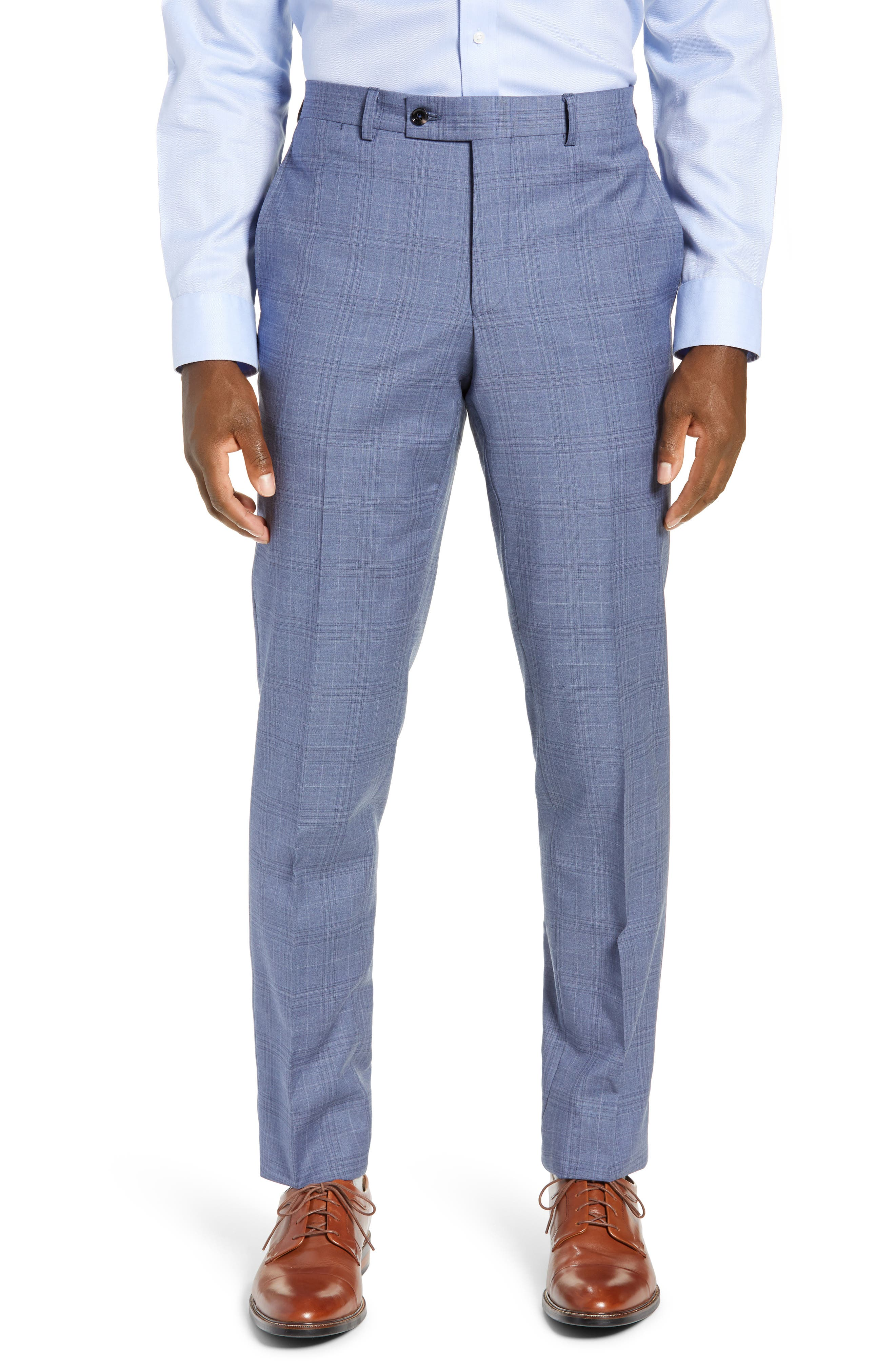 Jay Trim Fit Plaid Wool Suit,                             Alternate thumbnail 5, color,                             BLUE