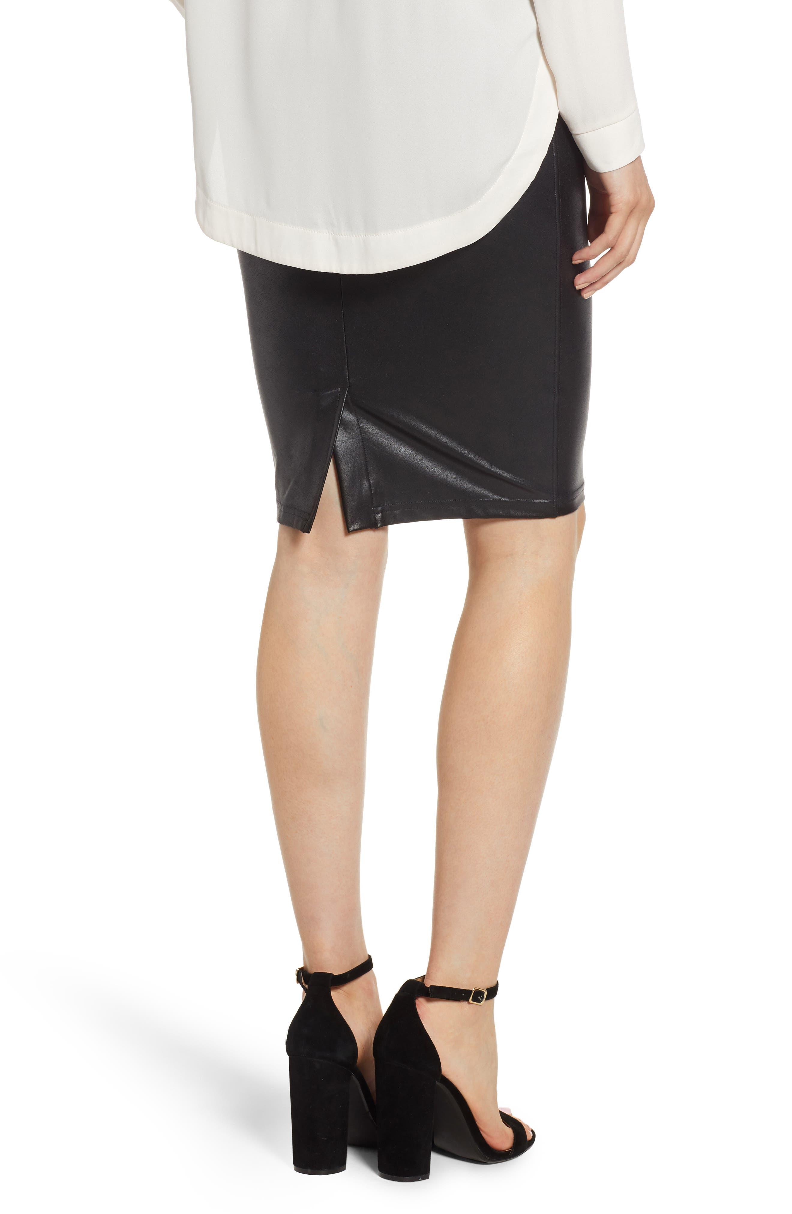 Faux Leather Pencil Skirt,                             Alternate thumbnail 2, color,                             VERY BLACK