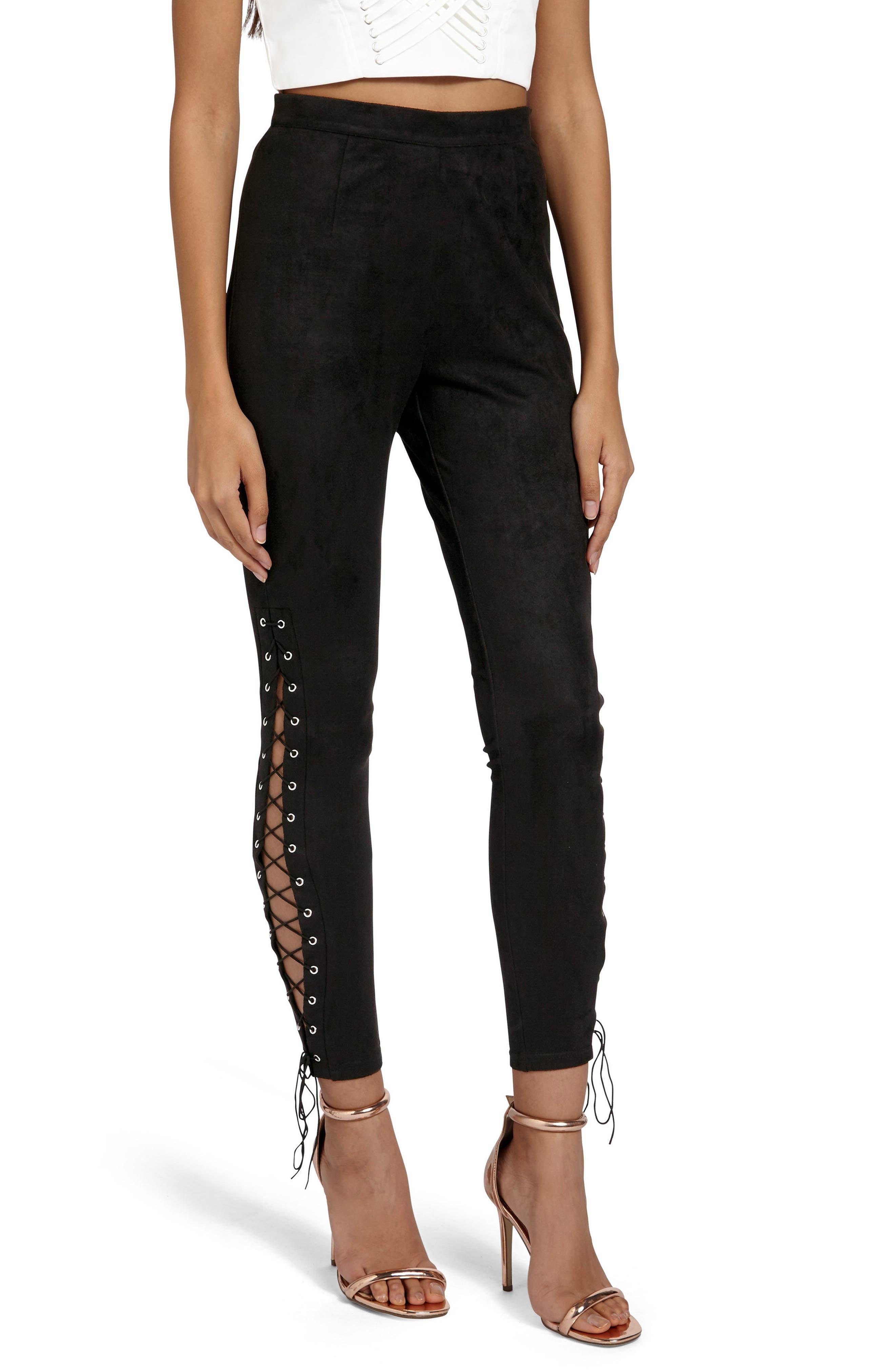 Faux Suede Lace-Up Pants,                         Main,                         color, 001