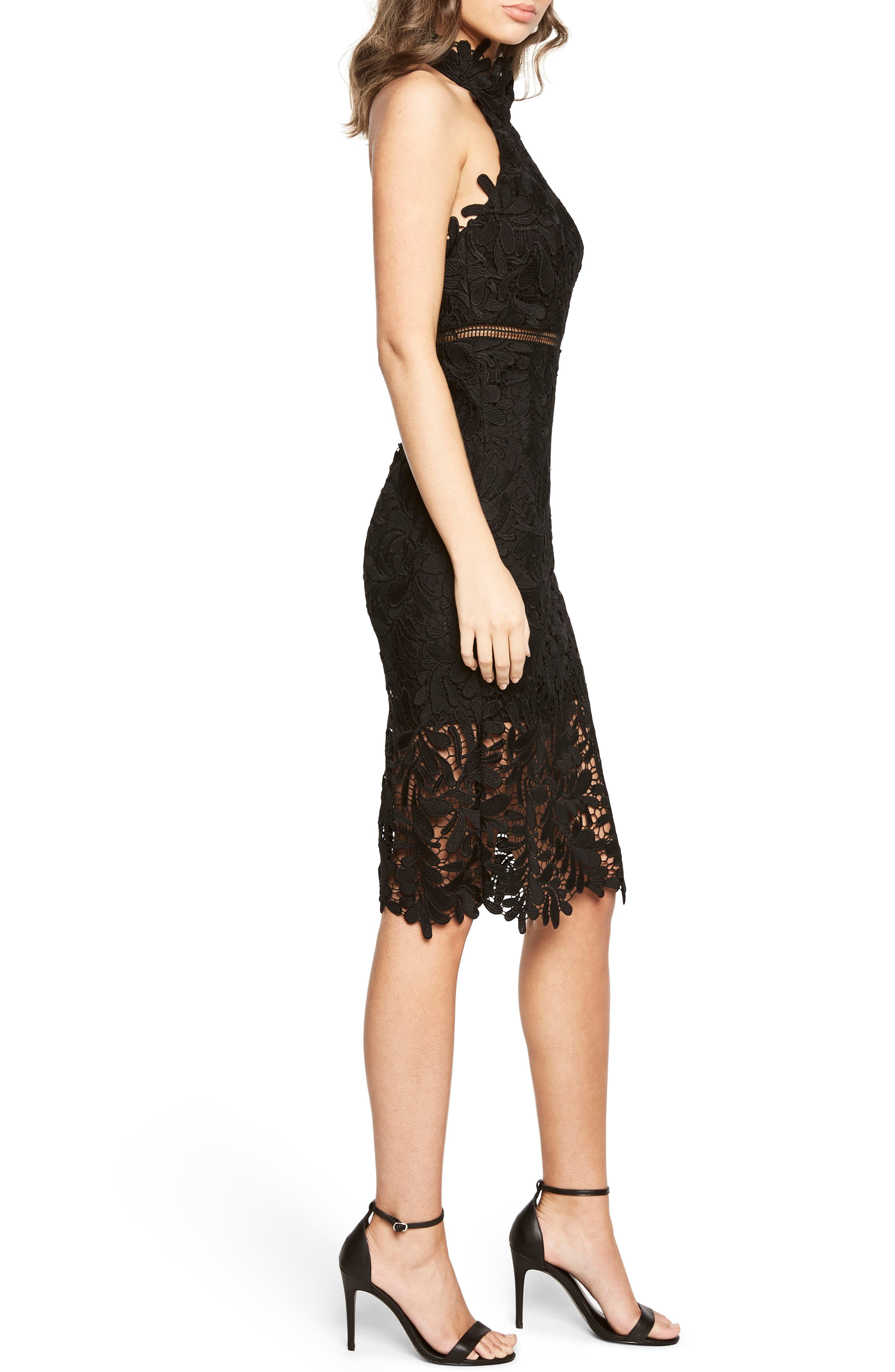 Kara Lace Halter Dress,                             Alternate thumbnail 3, color,                             001