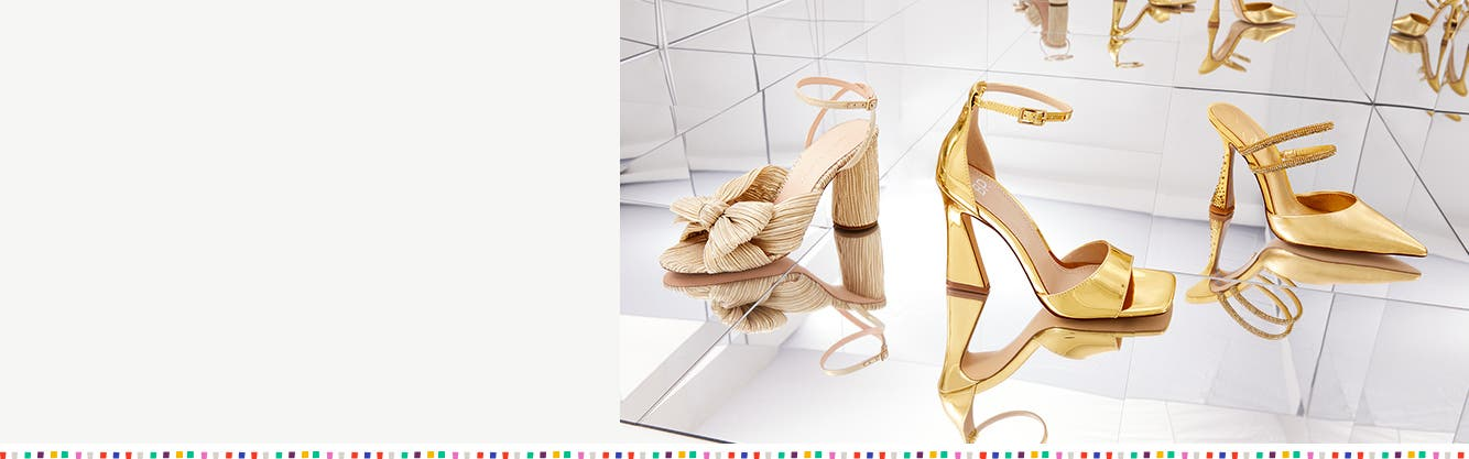 Three styles of ankle-strap high heels for women.