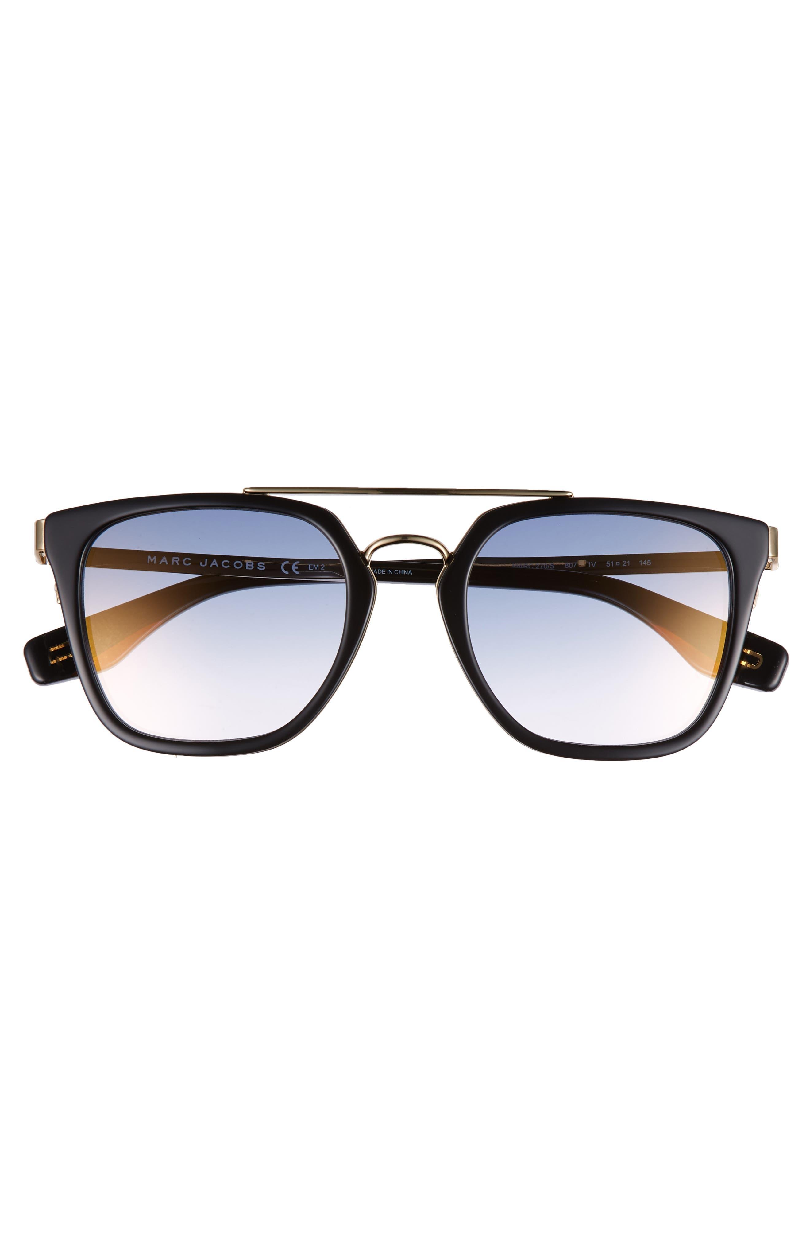 Basic 51mm Aviator Sunglasses,                             Alternate thumbnail 3, color,                             BLACK