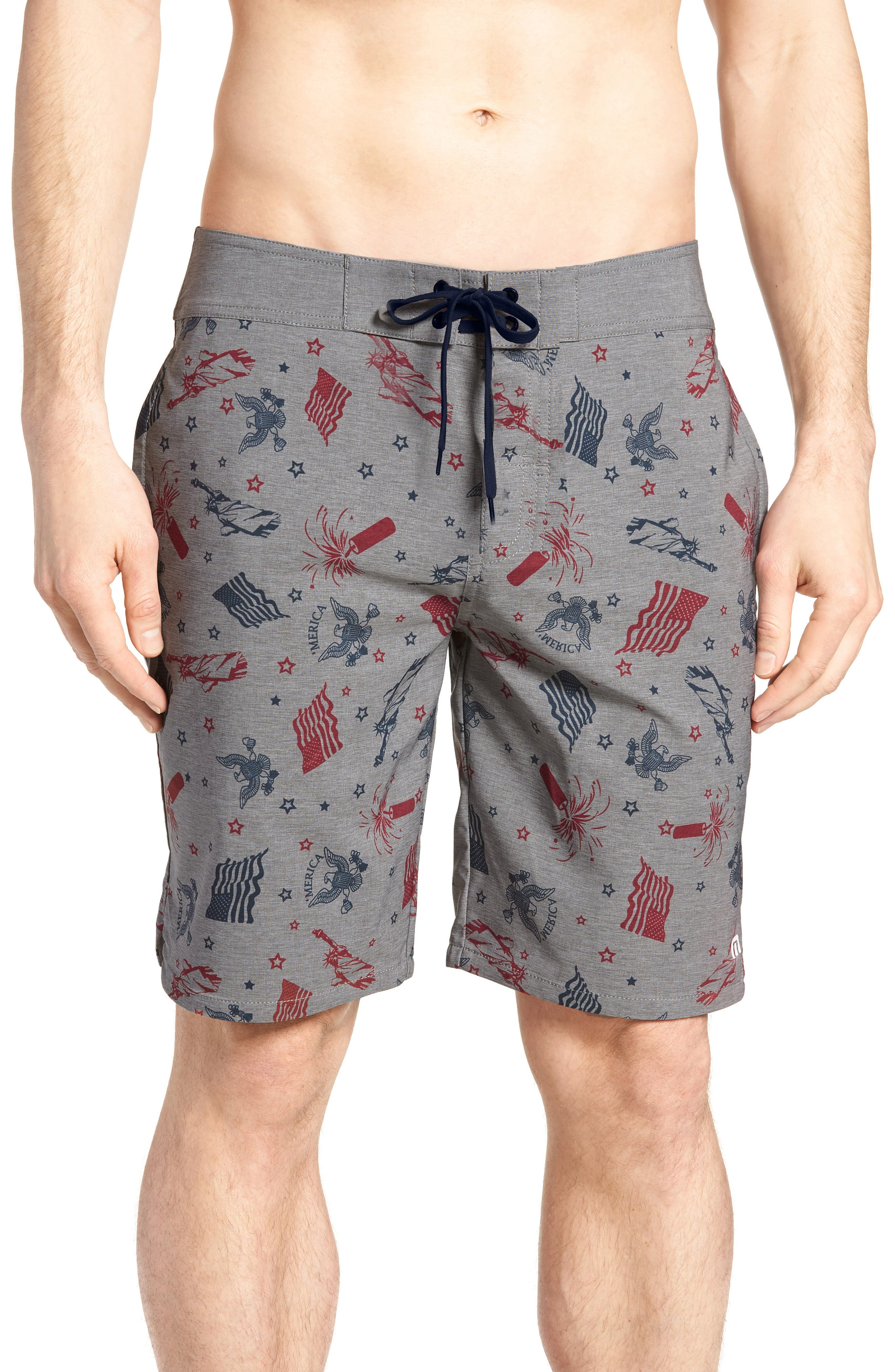Liberty Swim Trunks,                         Main,                         color, HEATHER GRIFFIN