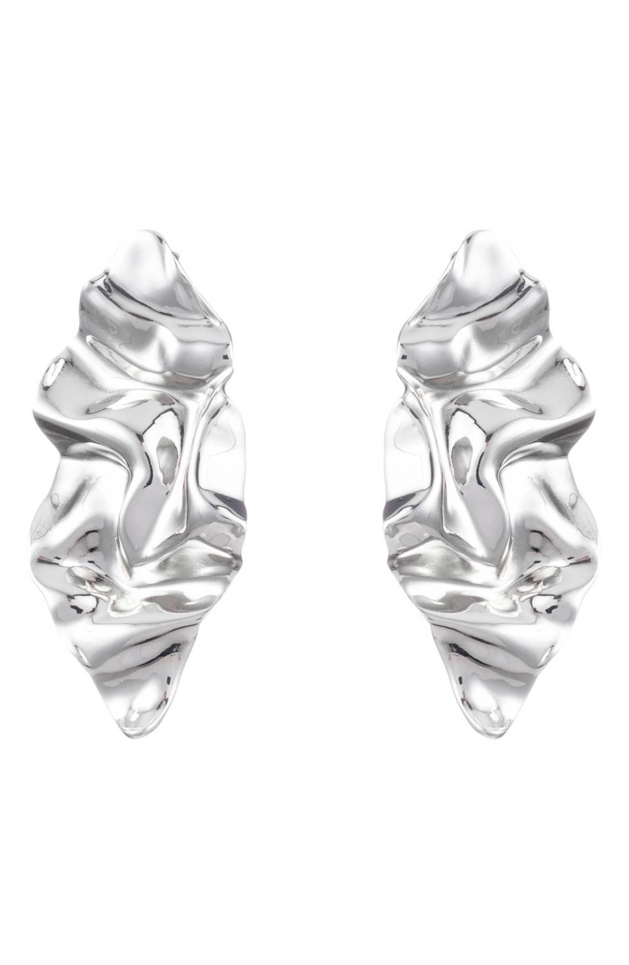 Crumpled Drop Earrings, Main, color, SILVER