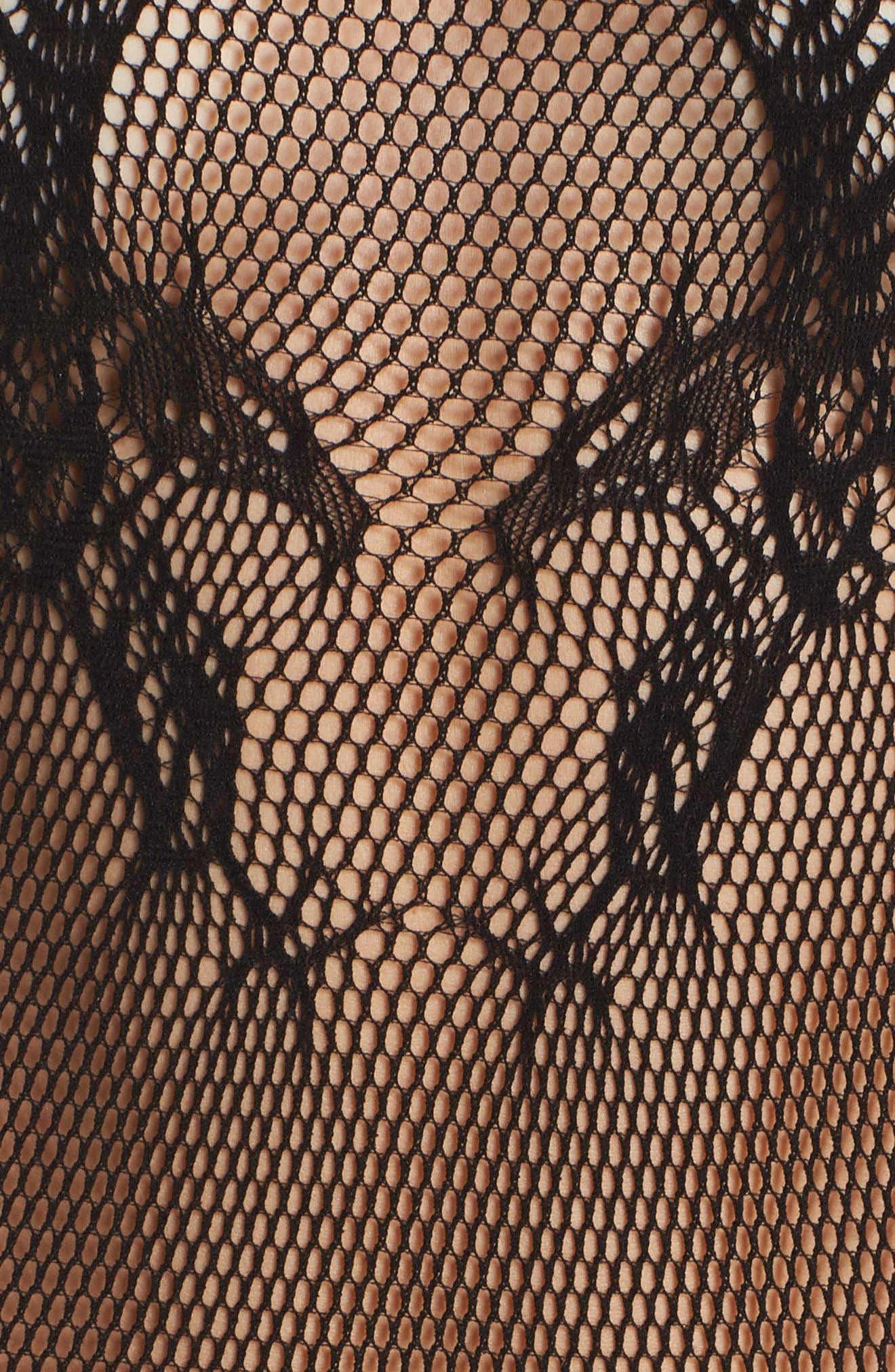 Sleeveless Fishnet Bodysuit,                             Alternate thumbnail 5, color,                             001