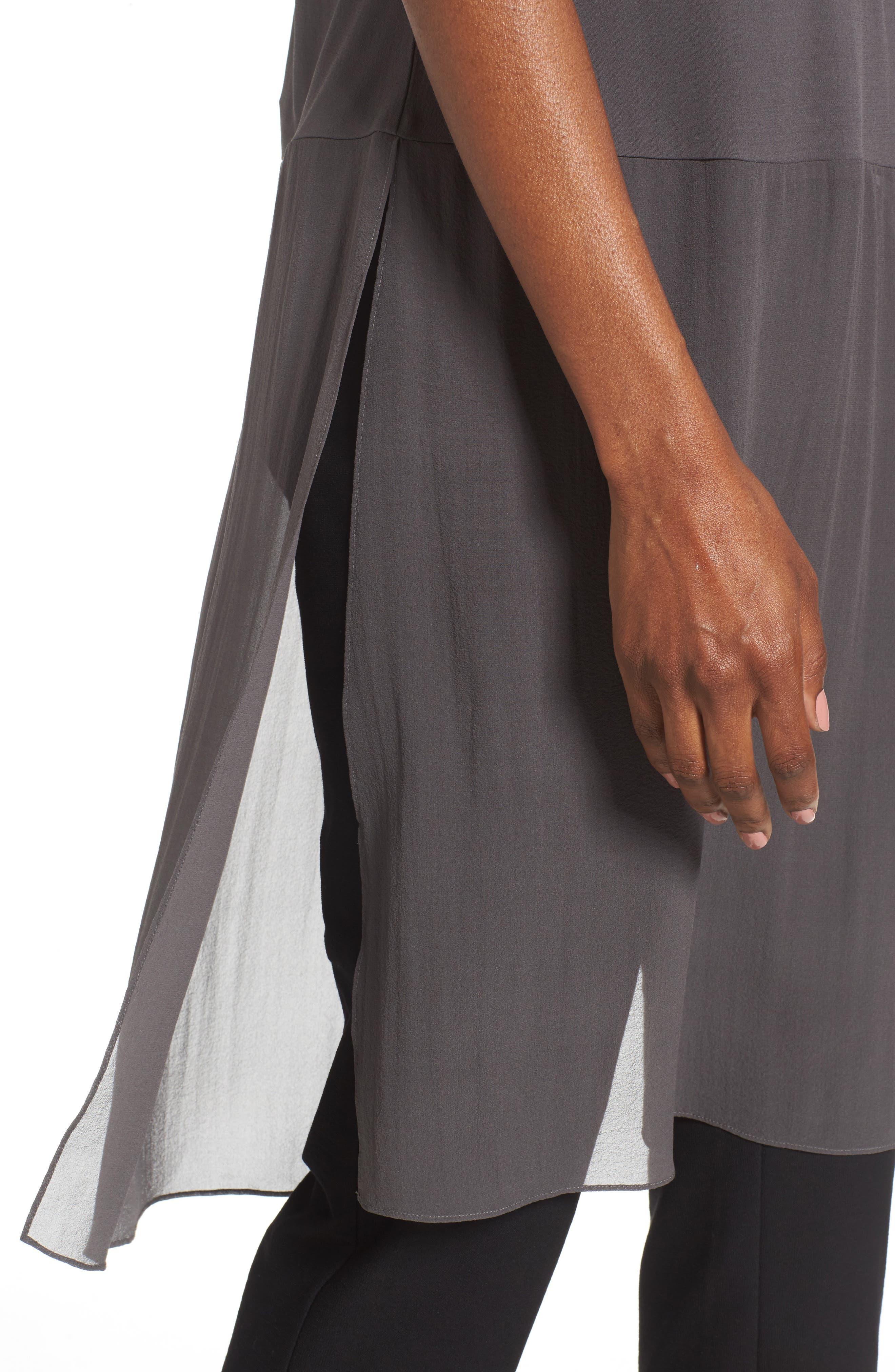 Silk Jersey & Chiffon Tunic,                             Alternate thumbnail 8, color,