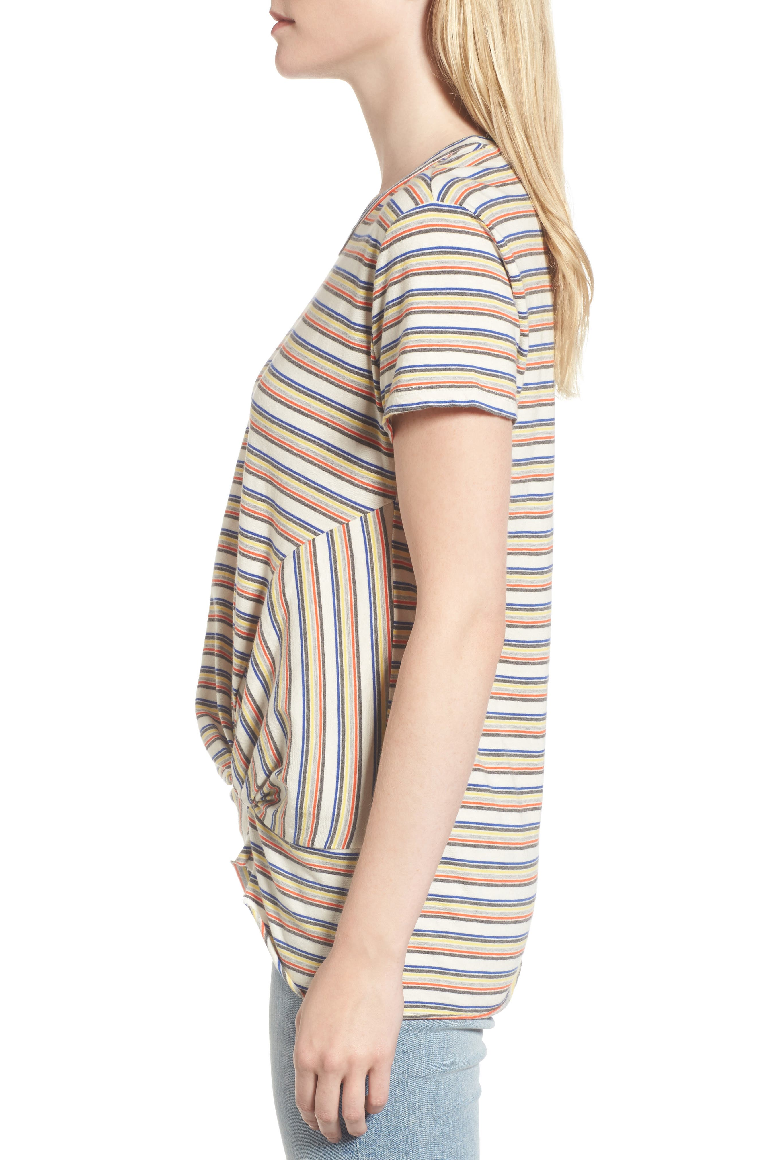 Stripe Twist Front Tee,                             Alternate thumbnail 3, color,