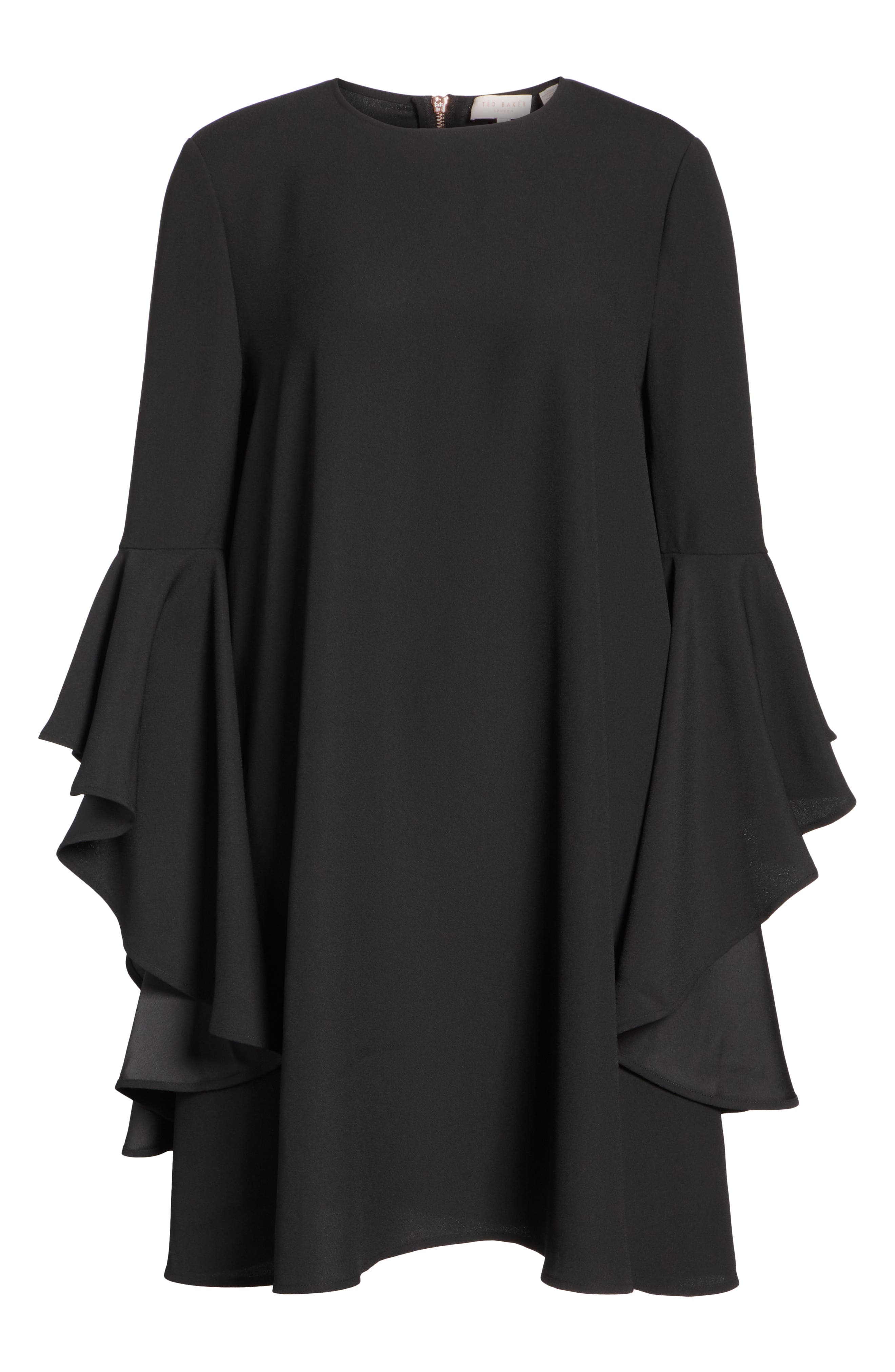 TED BAKER LONDON,                             Ashley Waterfall Sleeve A-Line Dress,                             Alternate thumbnail 6, color,                             001
