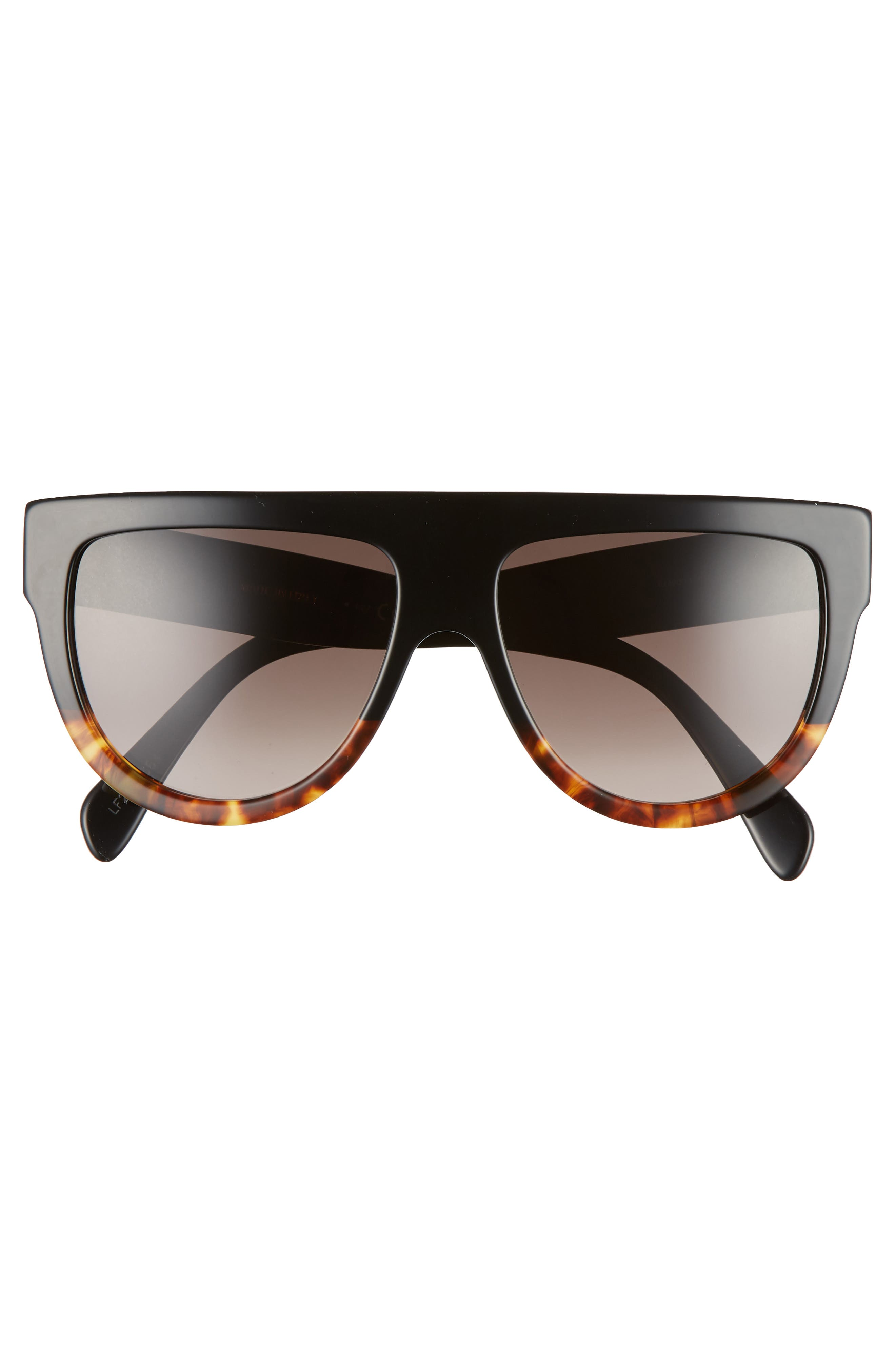 Flat Top Sunglasses,                             Alternate thumbnail 4, color,                             BLACK/ HAVANA/ SMOKE