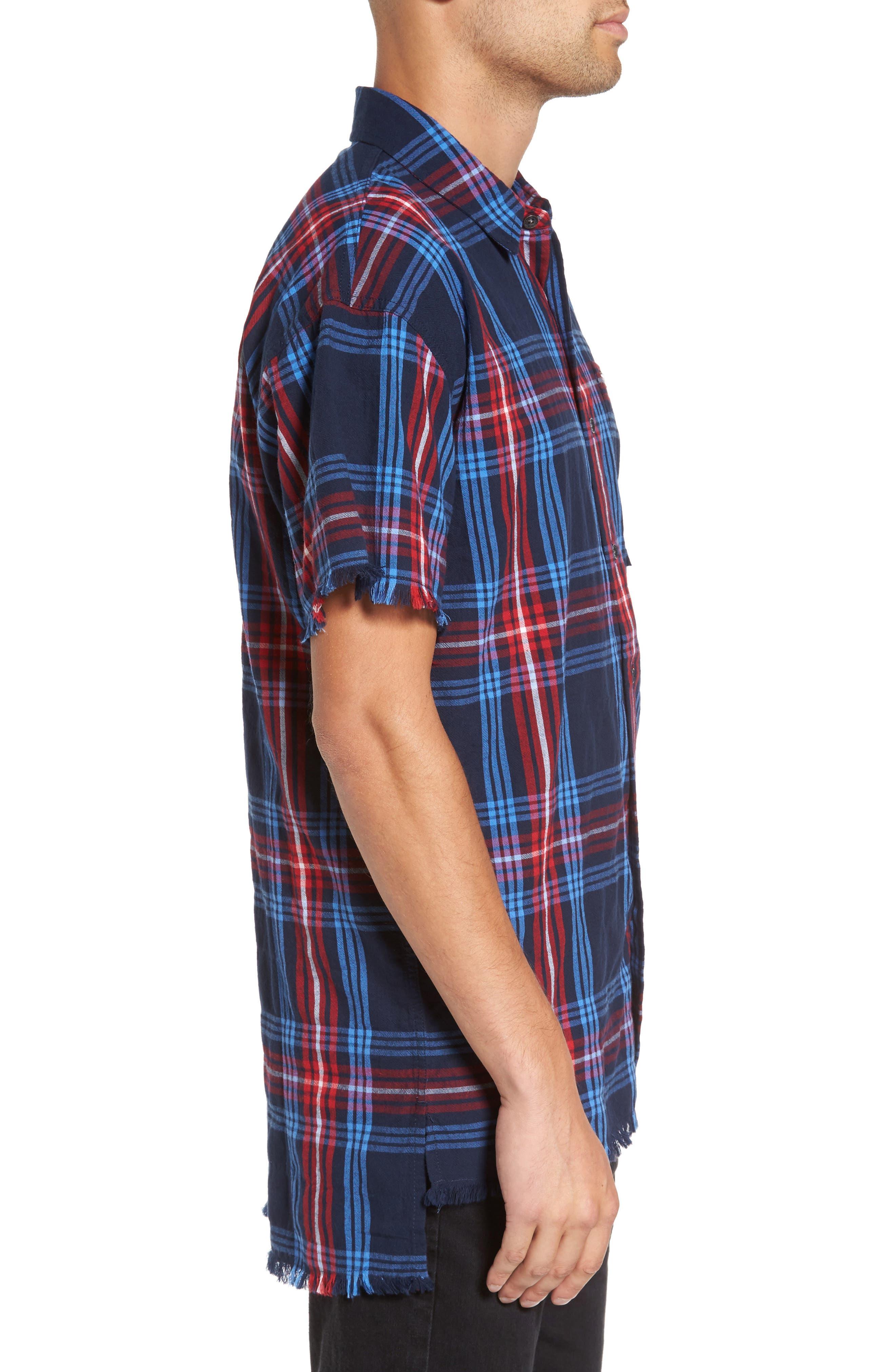 Raw Edge Plaid Woven Shirt,                             Alternate thumbnail 3, color,                             400