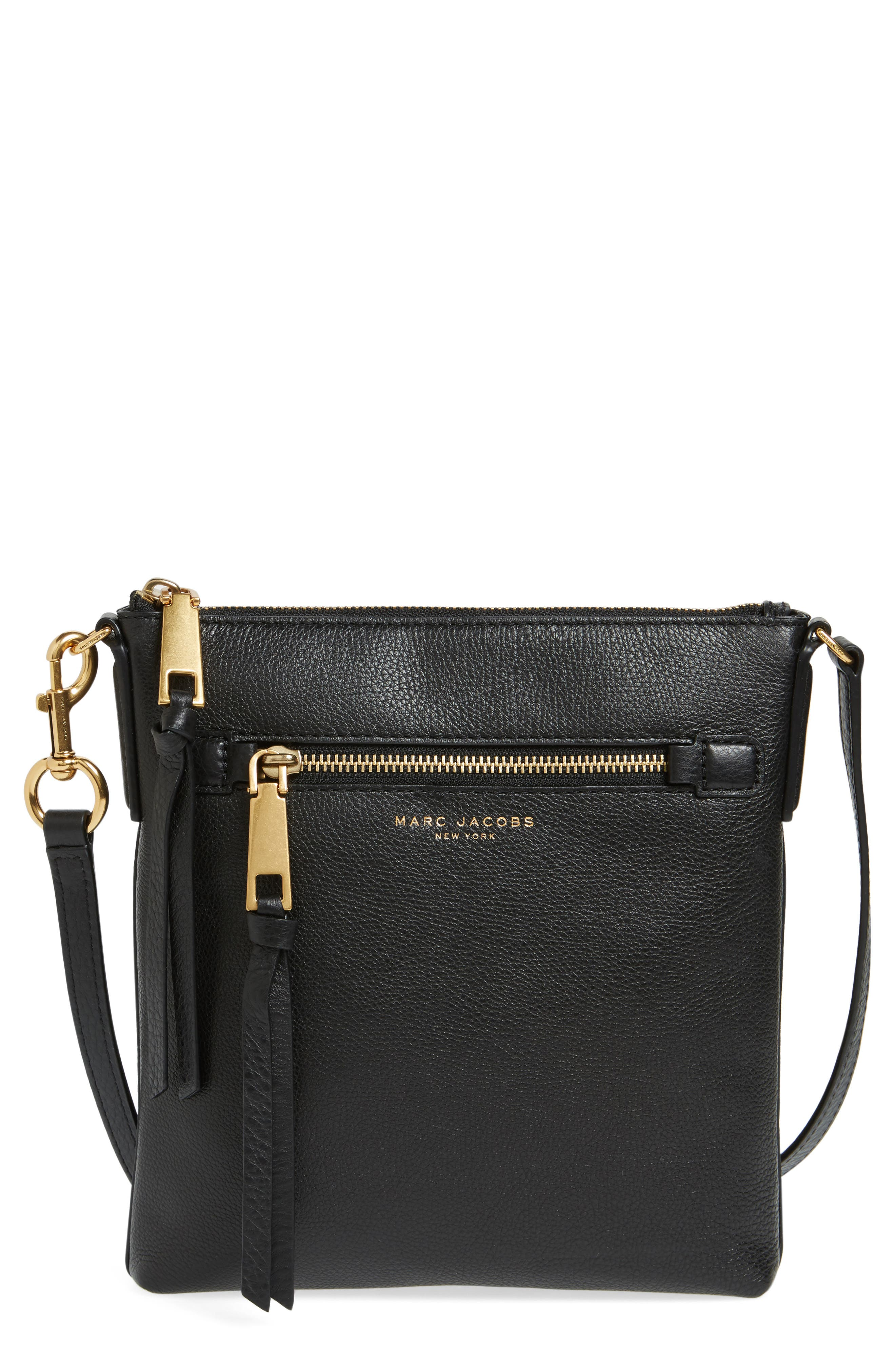 Recruit North/South Leather Crossbody Bag,                         Main,                         color, BLACK
