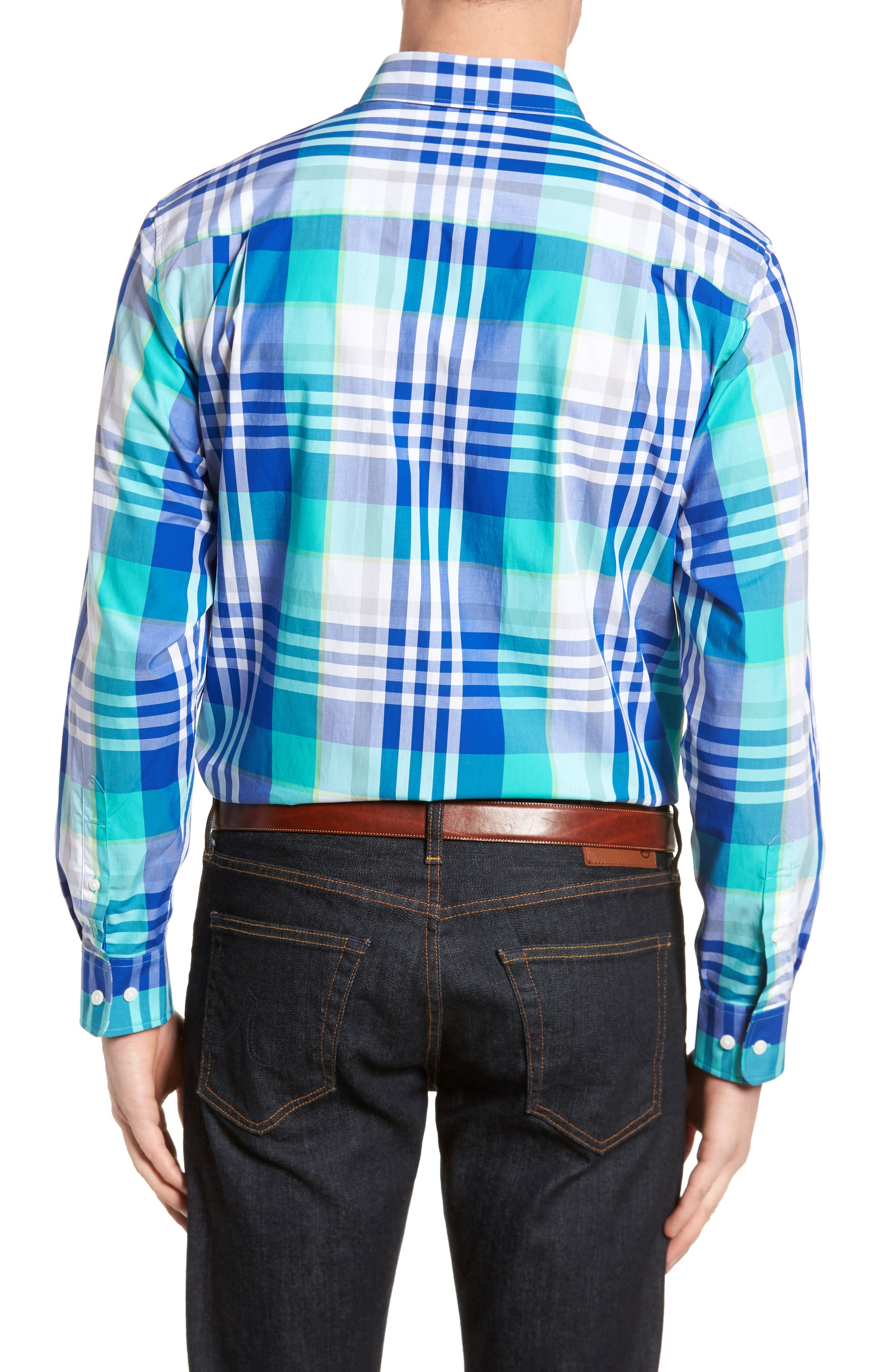 Cooper Classic Fit Non-Iron Plaid Sport Shirt,                             Alternate thumbnail 3, color,