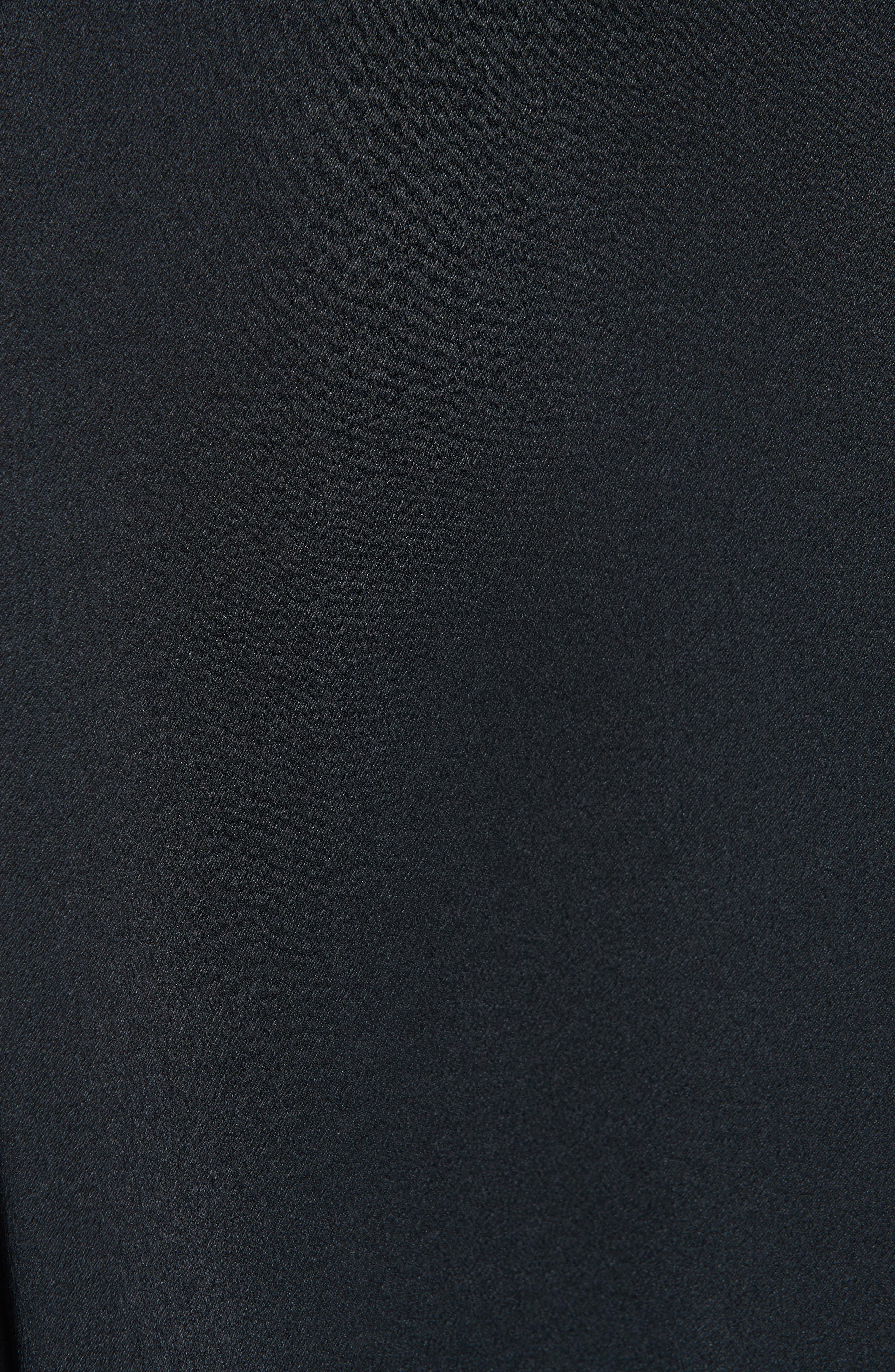 Band Collar Silk Blouse,                             Alternate thumbnail 5, color,                             BLACK