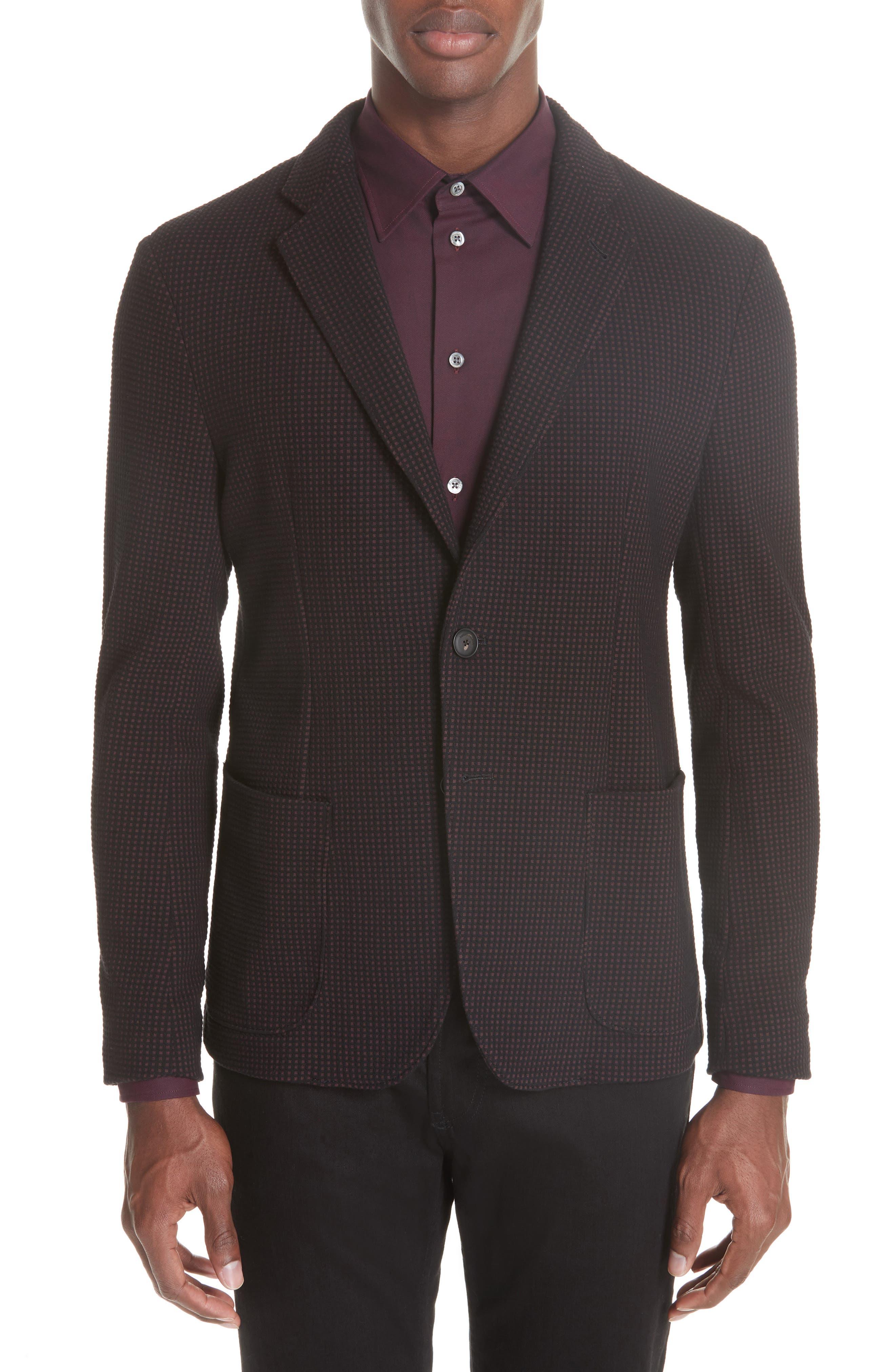 Trim Fit Check Cotton Sport Coat,                         Main,                         color, BURGUNDY