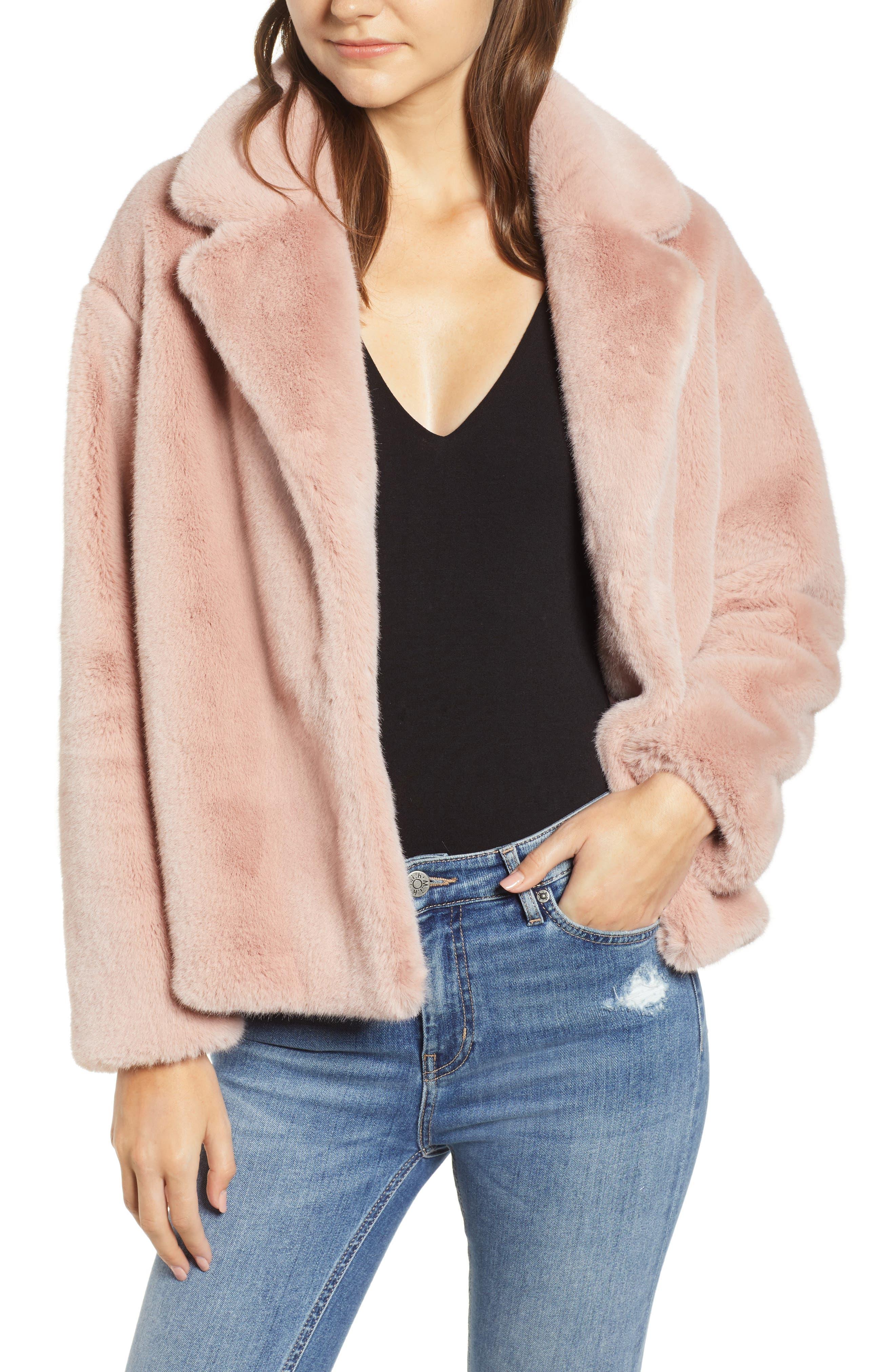 HEARTLOOM Luna Faux Fur Jacket in Mauve