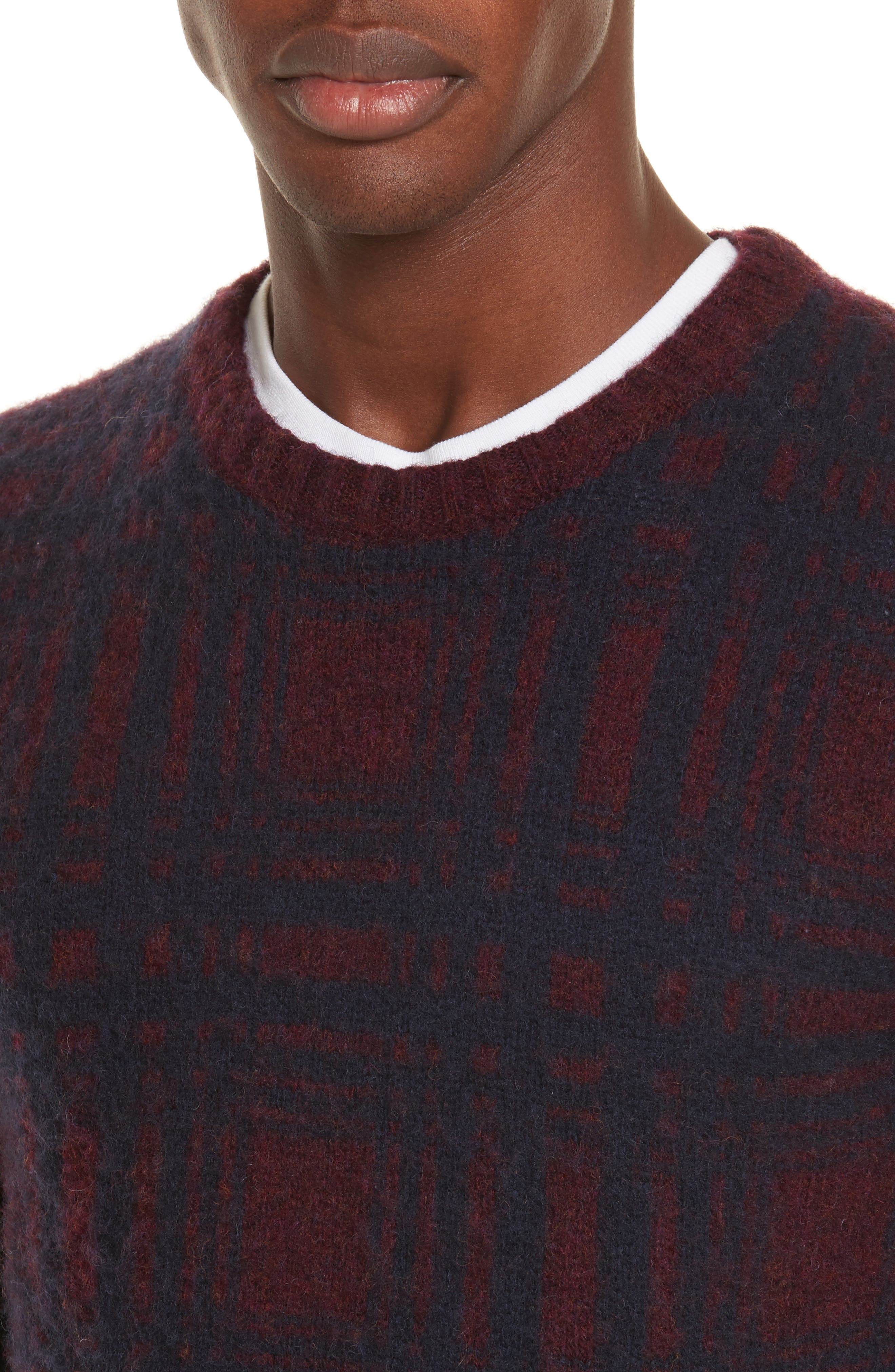 Sam Intarsia Check Wool Sweater,                             Alternate thumbnail 4, color,                             606