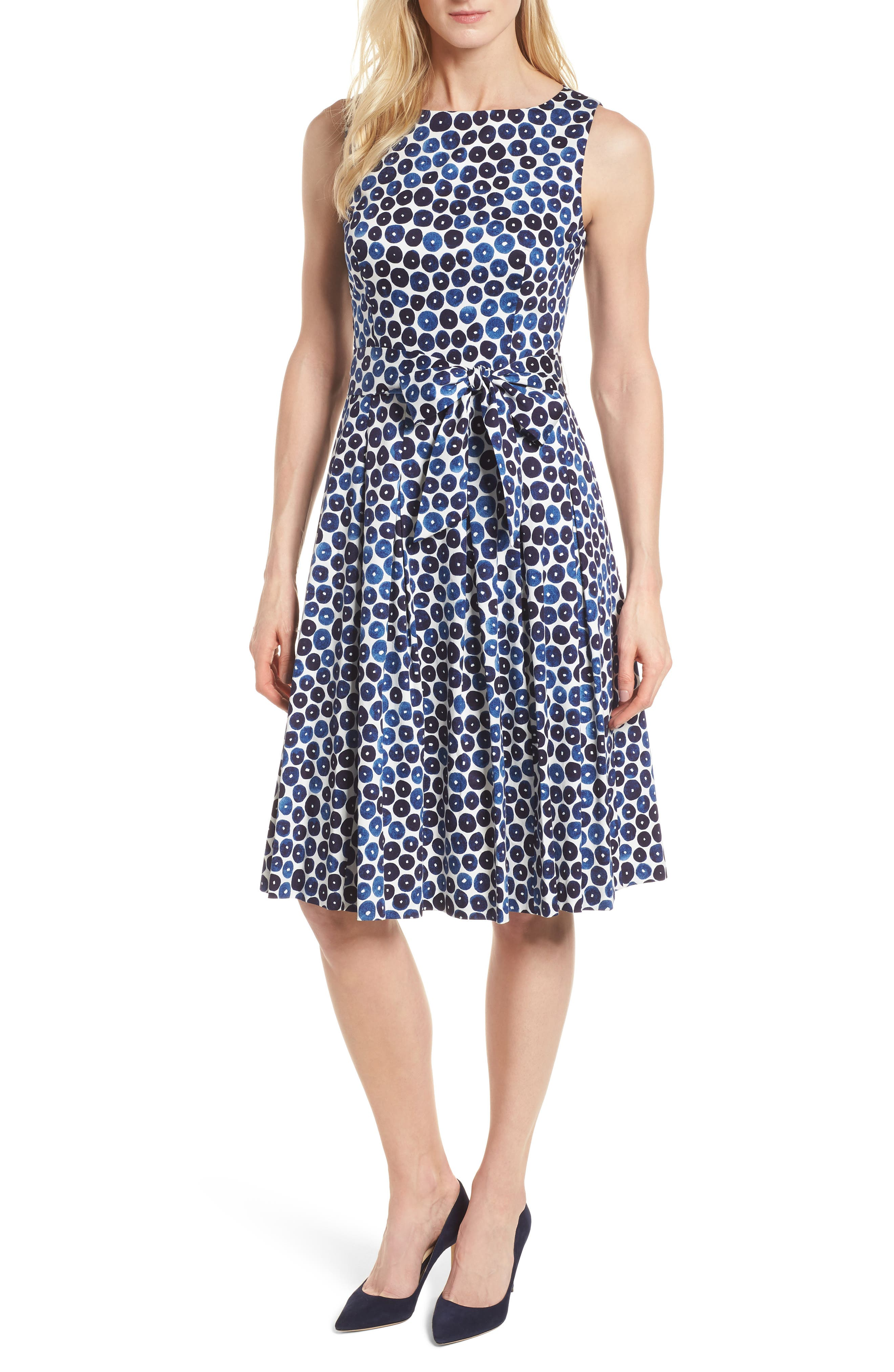 Neroli Print Cotton Sateen Dress,                         Main,                         color, 400