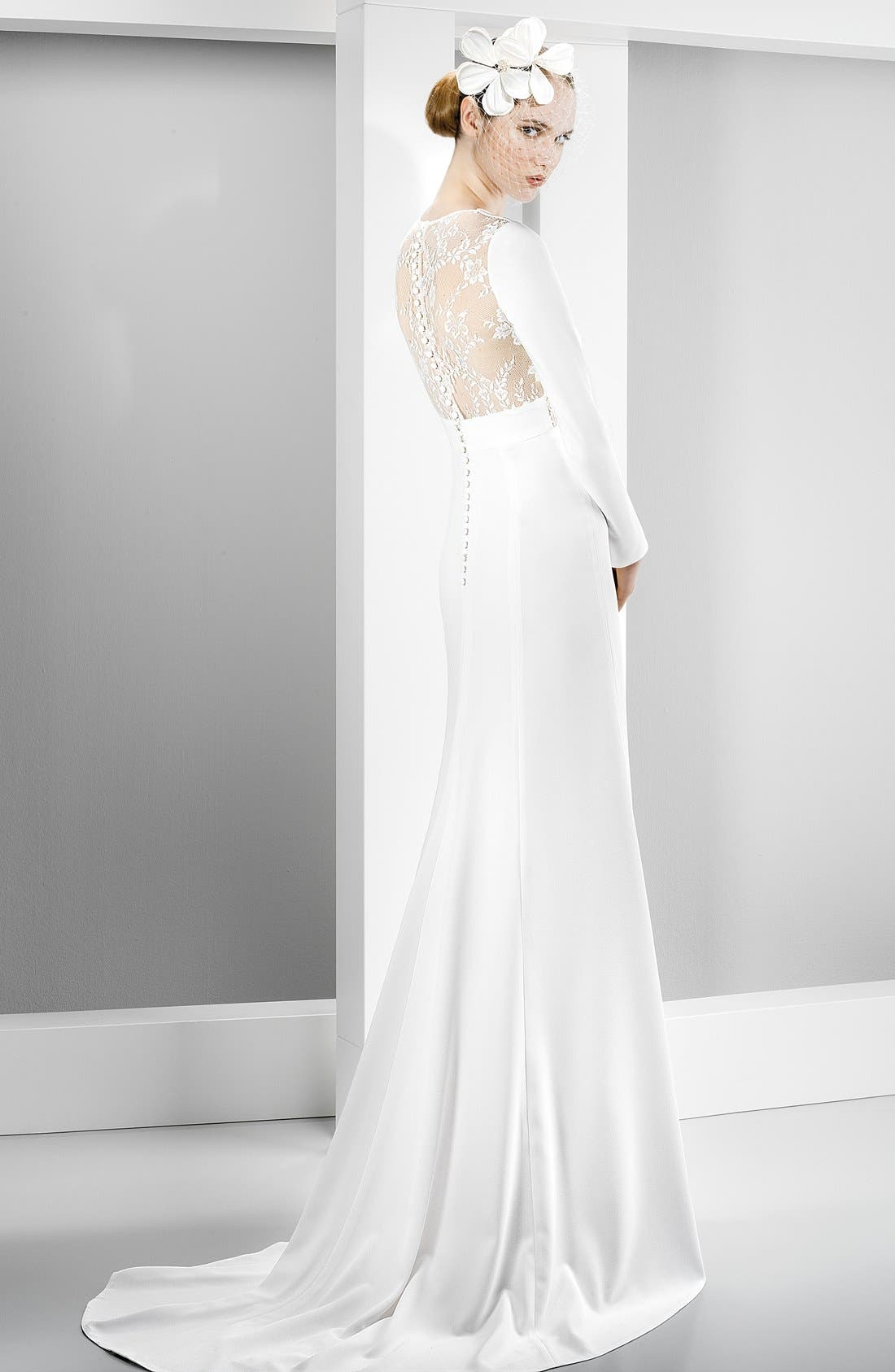 Illusion Lace Inset Long Sleeve Crepe Gown,                             Alternate thumbnail 2, color,                             900
