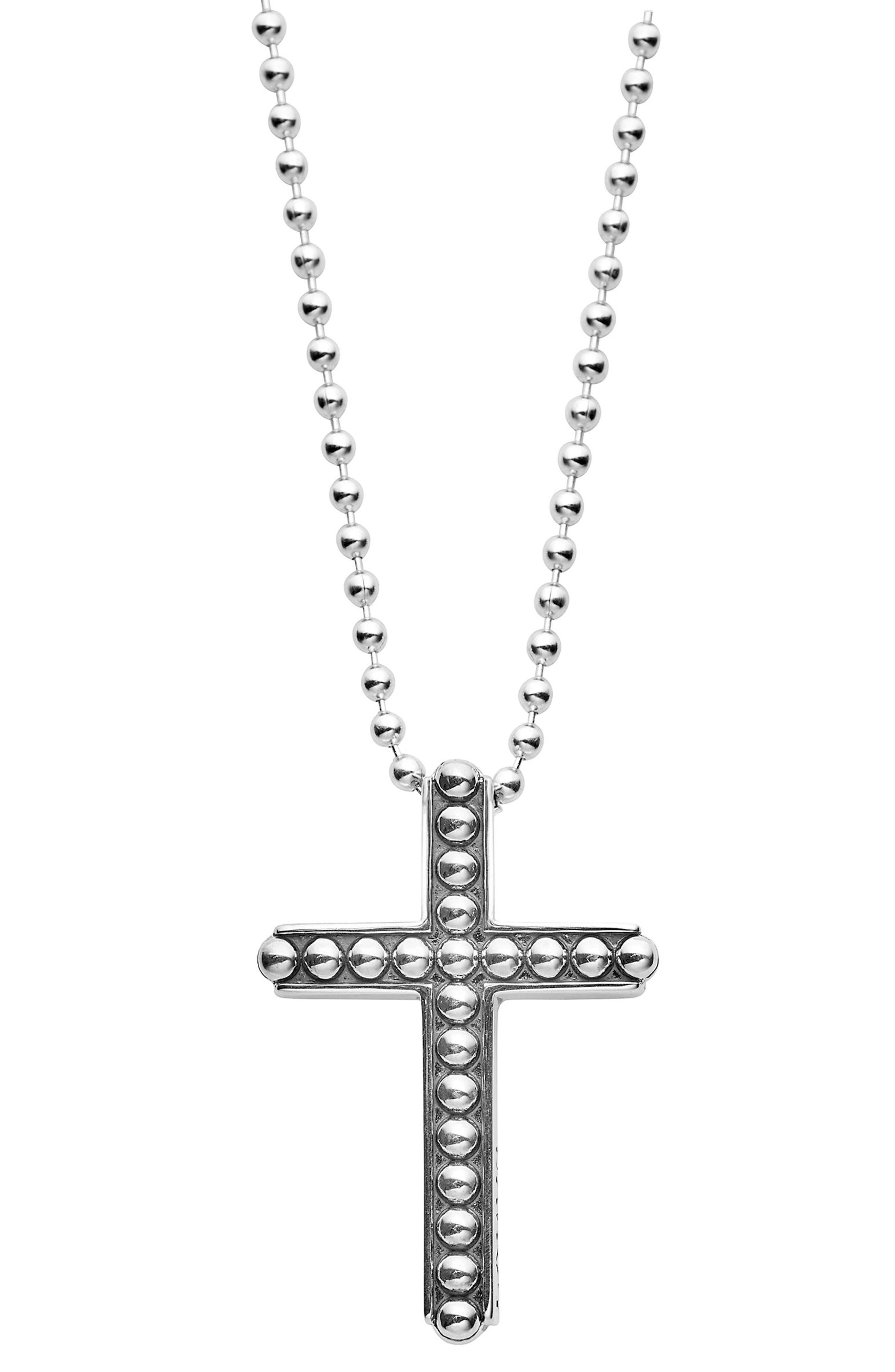 Signature Caviar Cross Pendant Necklace,                         Main,                         color, SILVER