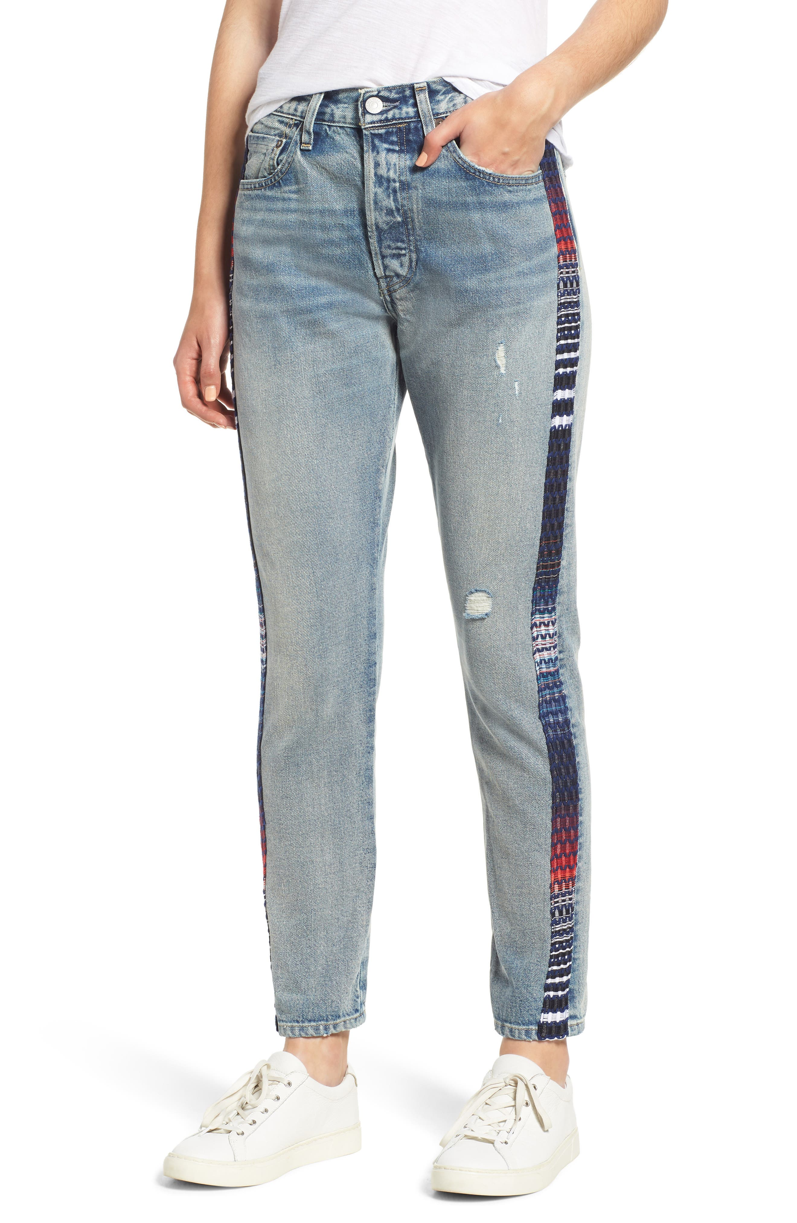 501 Cropped Skinny Jeans With Side Panels in Lmc Lovers Lane