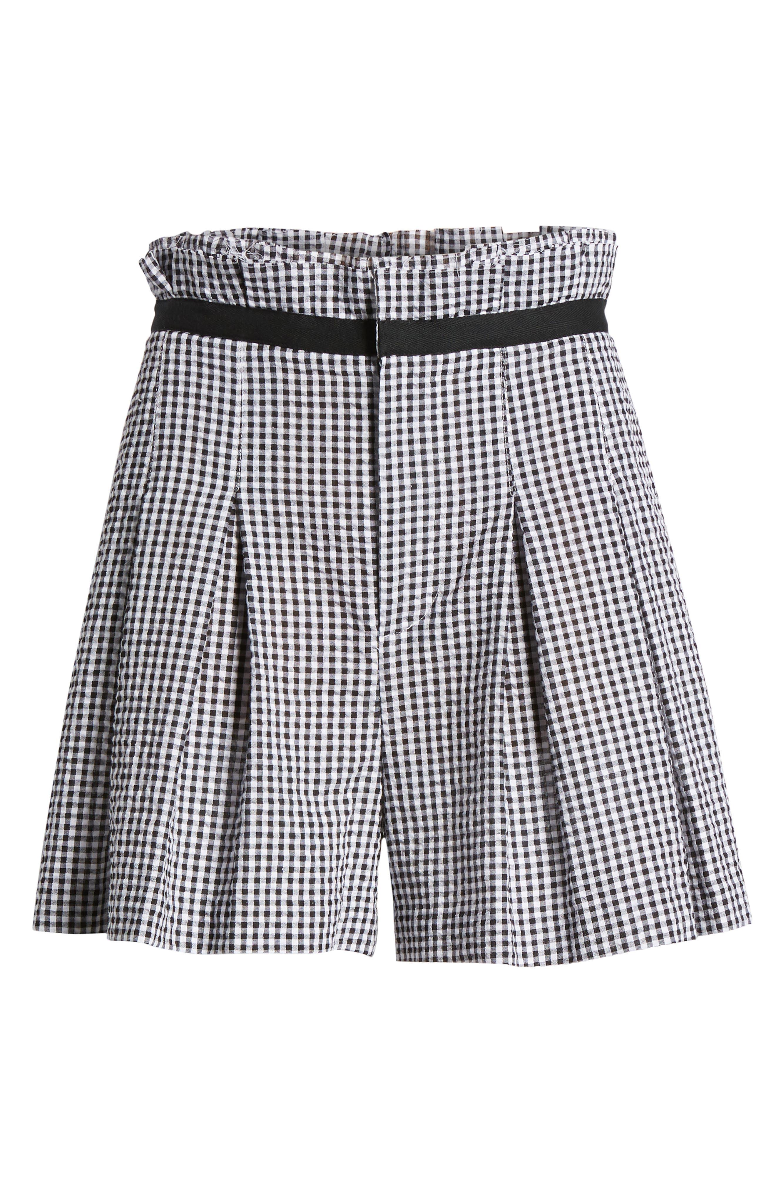 Gingham Paperbag Shorts,                             Alternate thumbnail 6, color,