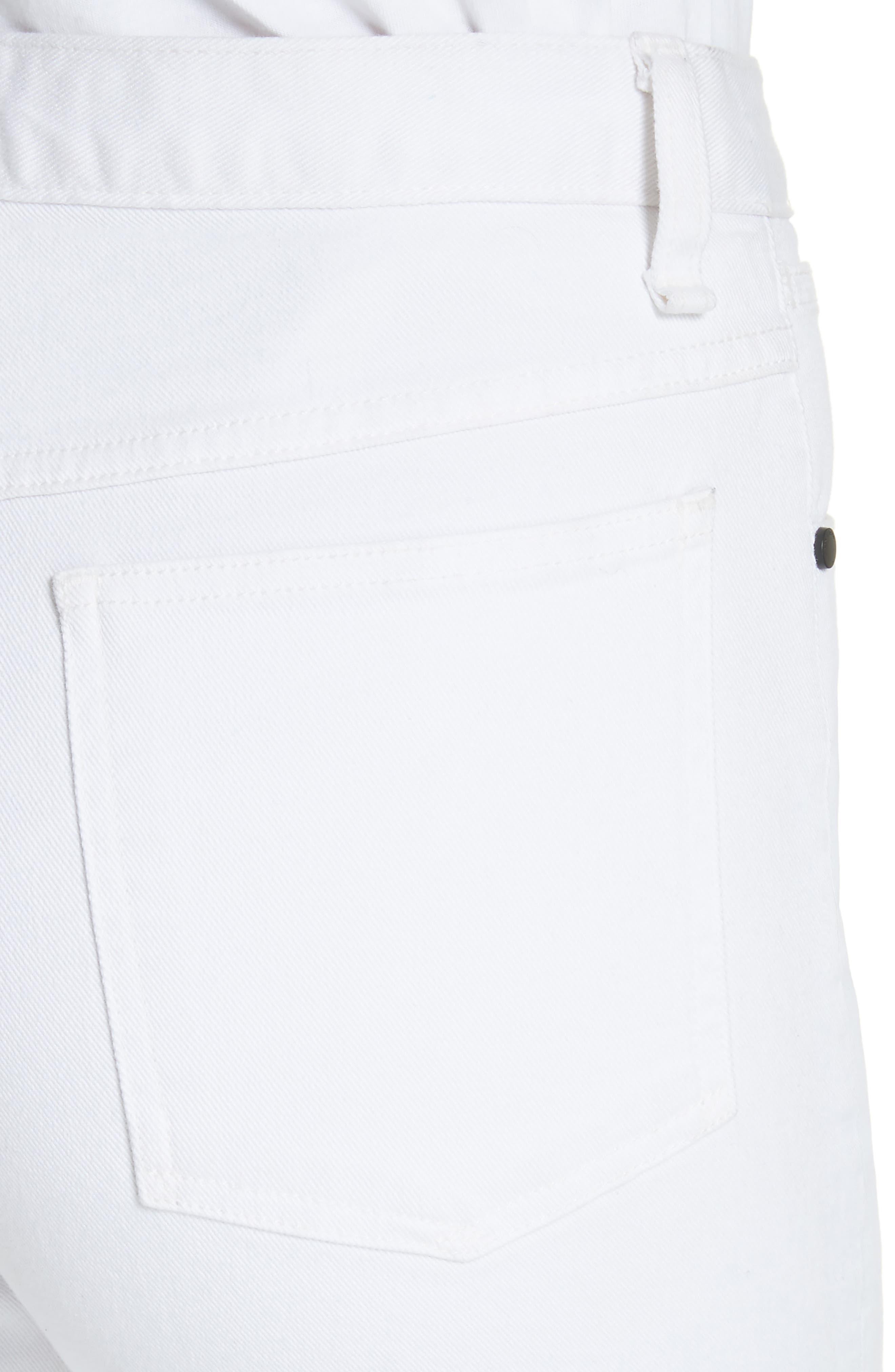Justine High Waist Ankle Wide Leg Trouser Jeans,                             Alternate thumbnail 4, color,                             100
