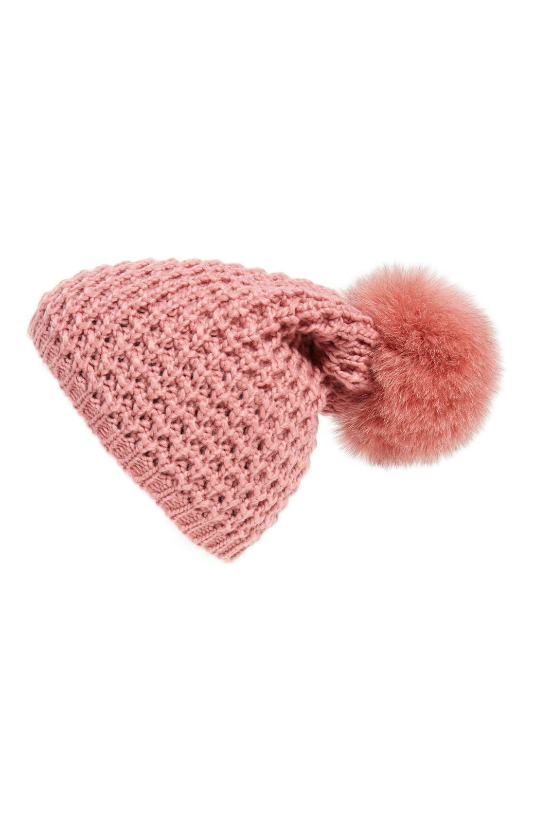 Genuine Fox Pompom Hat,                             Main thumbnail 15, color,