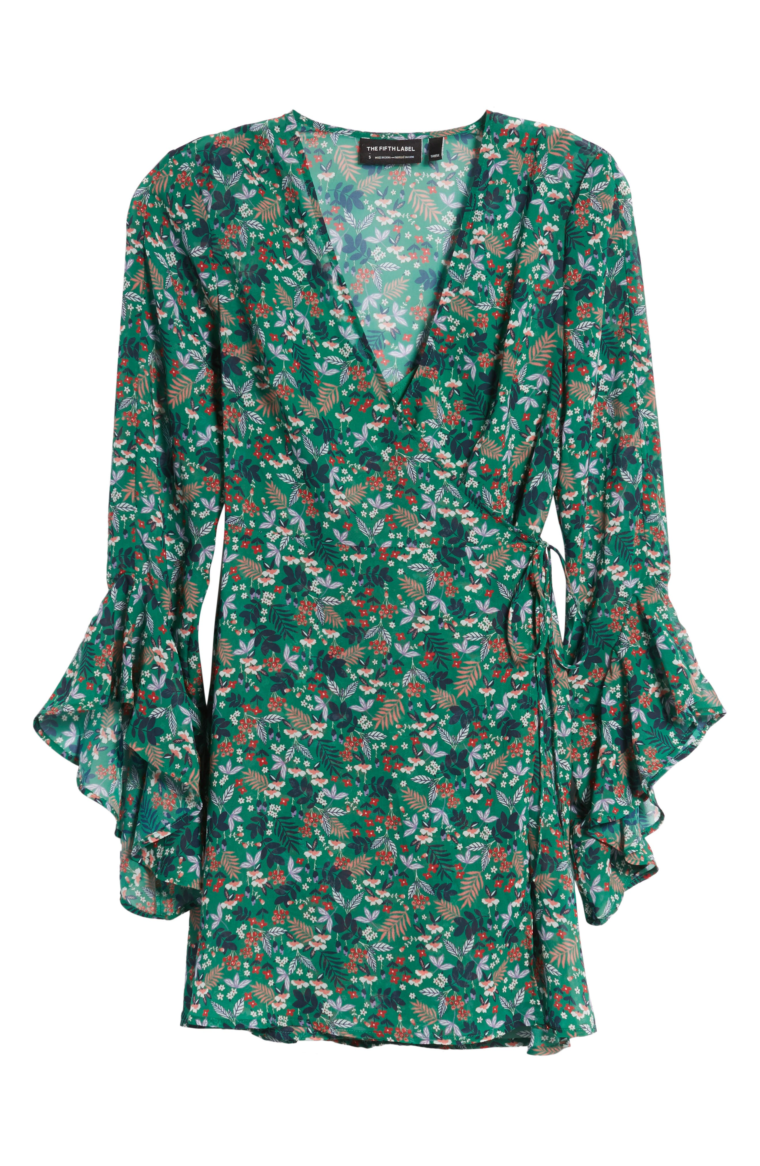 Viridian Floral Wrap Dress,                             Alternate thumbnail 6, color,                             305