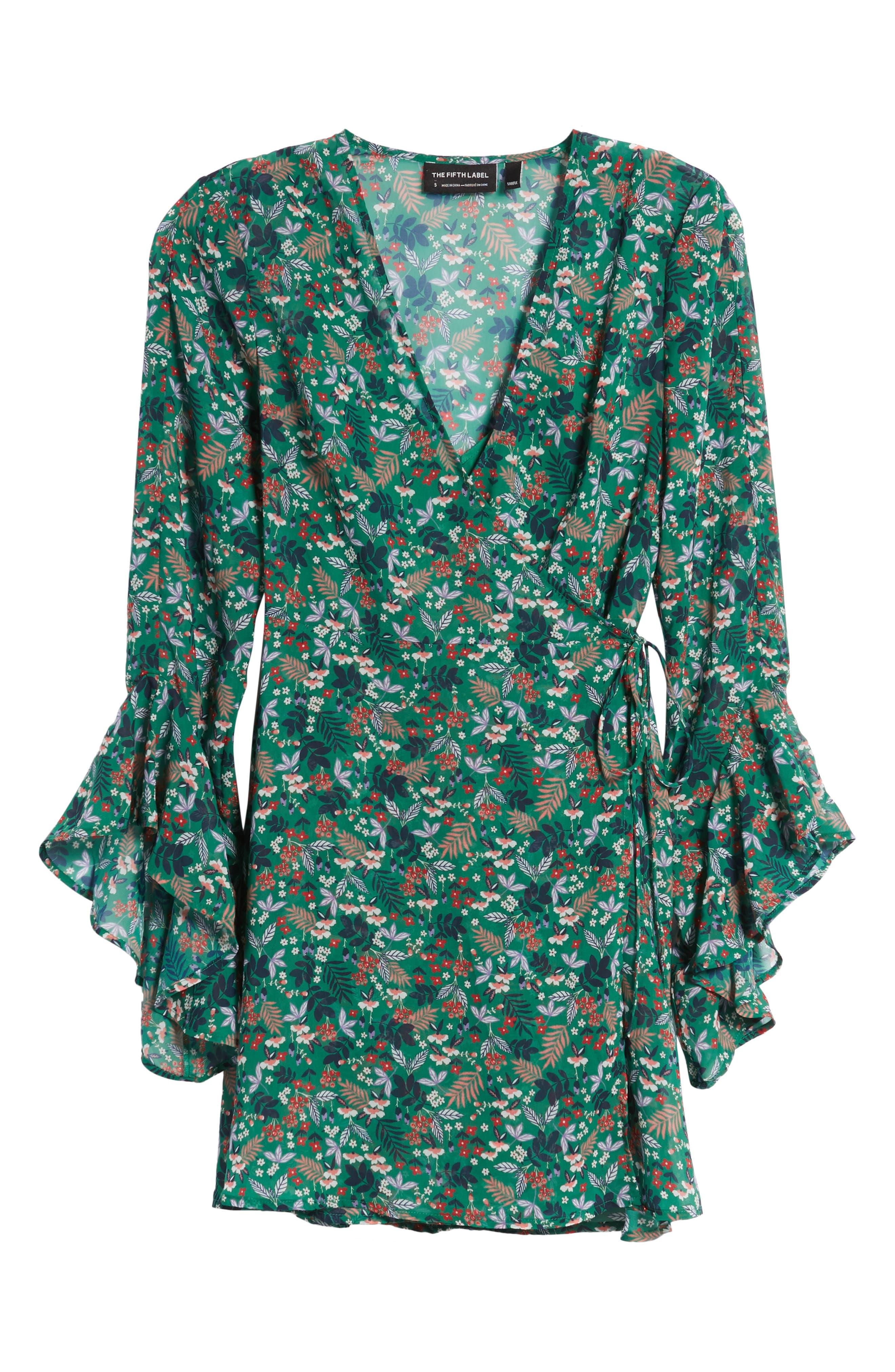 Viridian Floral Wrap Dress,                             Alternate thumbnail 7, color,