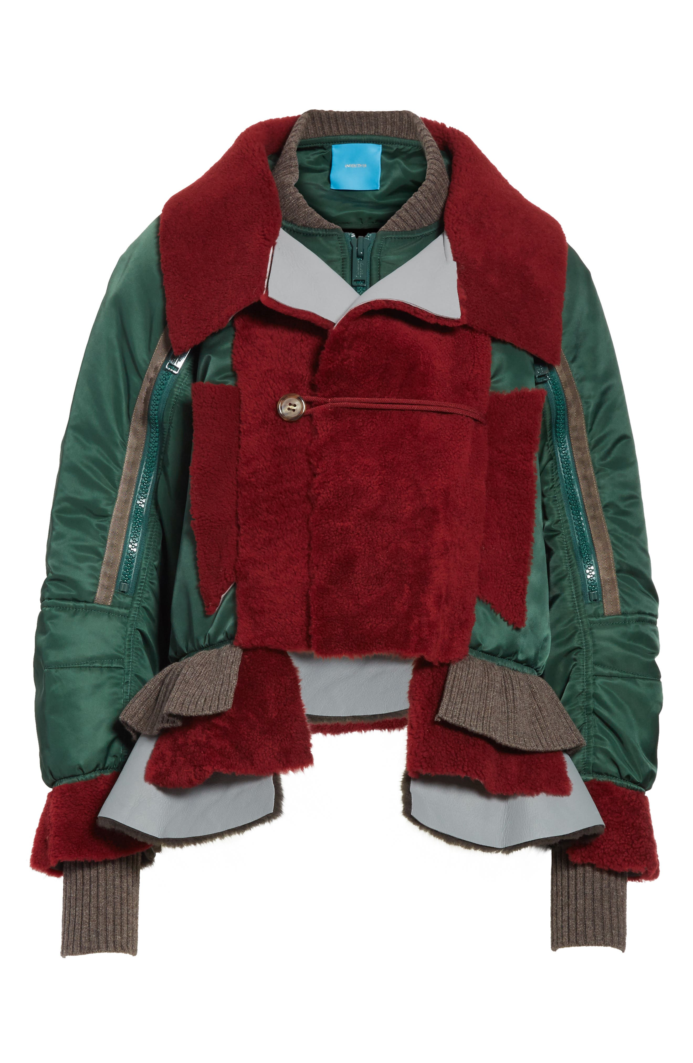 Mixed Media Bomber Jacket with Genuine Shearling Trim,                             Alternate thumbnail 5, color,