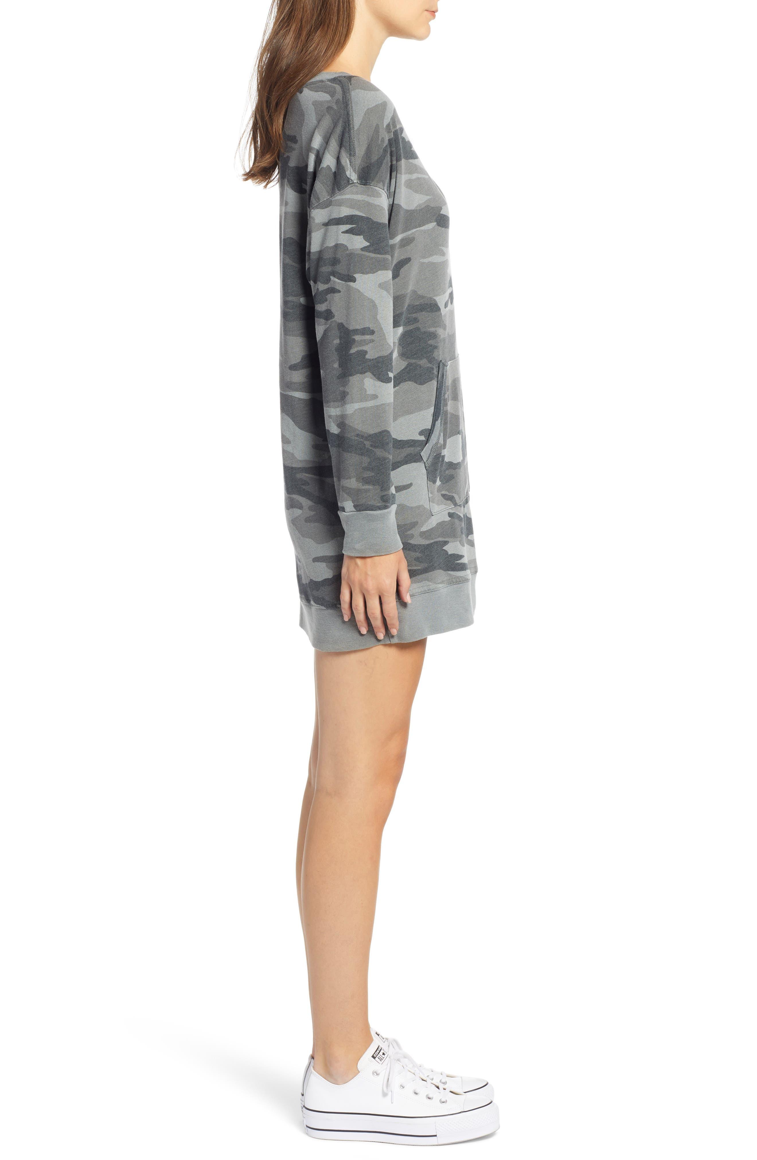 Active Camo Sweatshirt Dress,                             Alternate thumbnail 3, color,                             OLIVE BRANCH